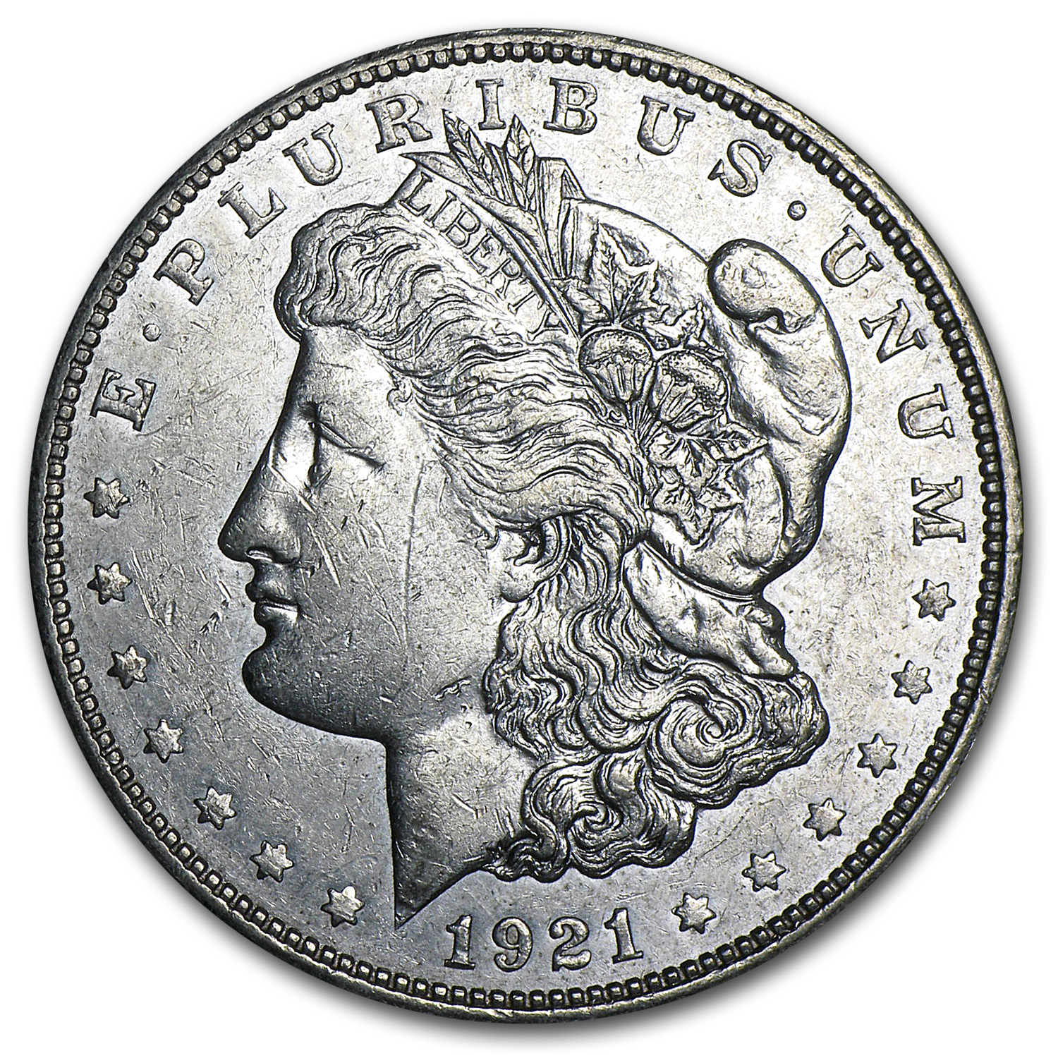 1921-D Morgan Dollar AU Details (VAM-1A,In God We Tru-t)