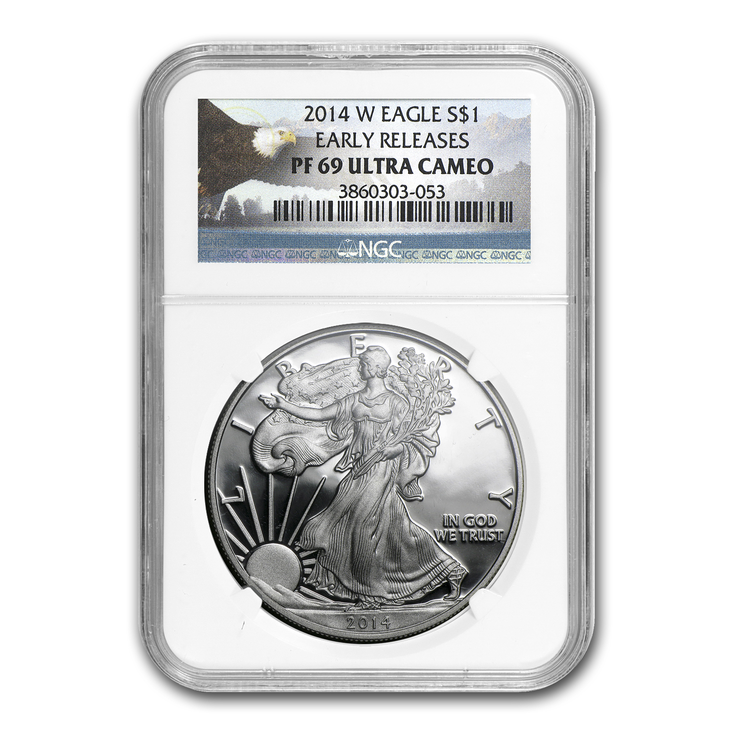 2014-W Proof Silver American Eagle PF69 NGC (ER) Bald Eagle Label