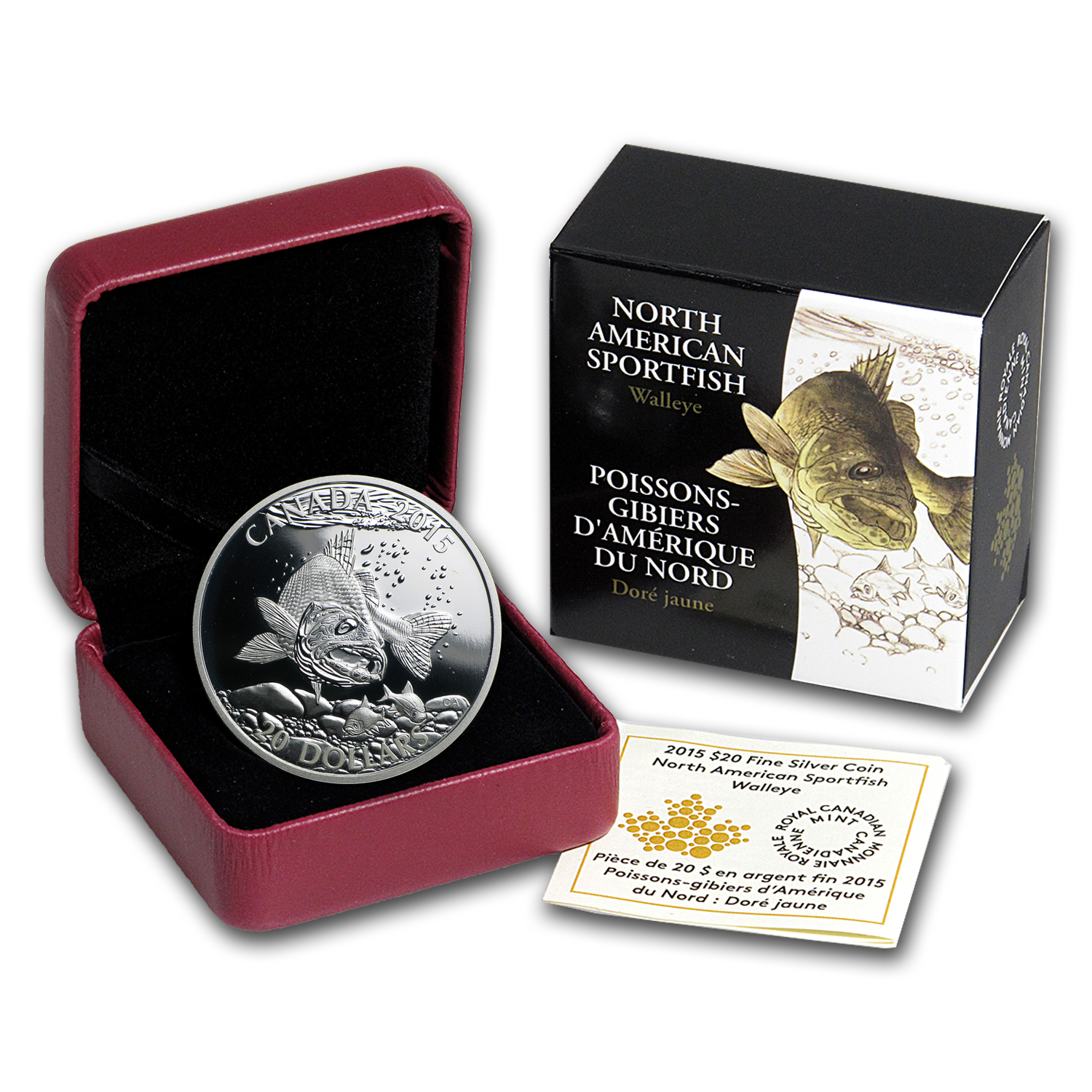 2015 Canada 1 oz Silver North American Sportfish Walleye Proof