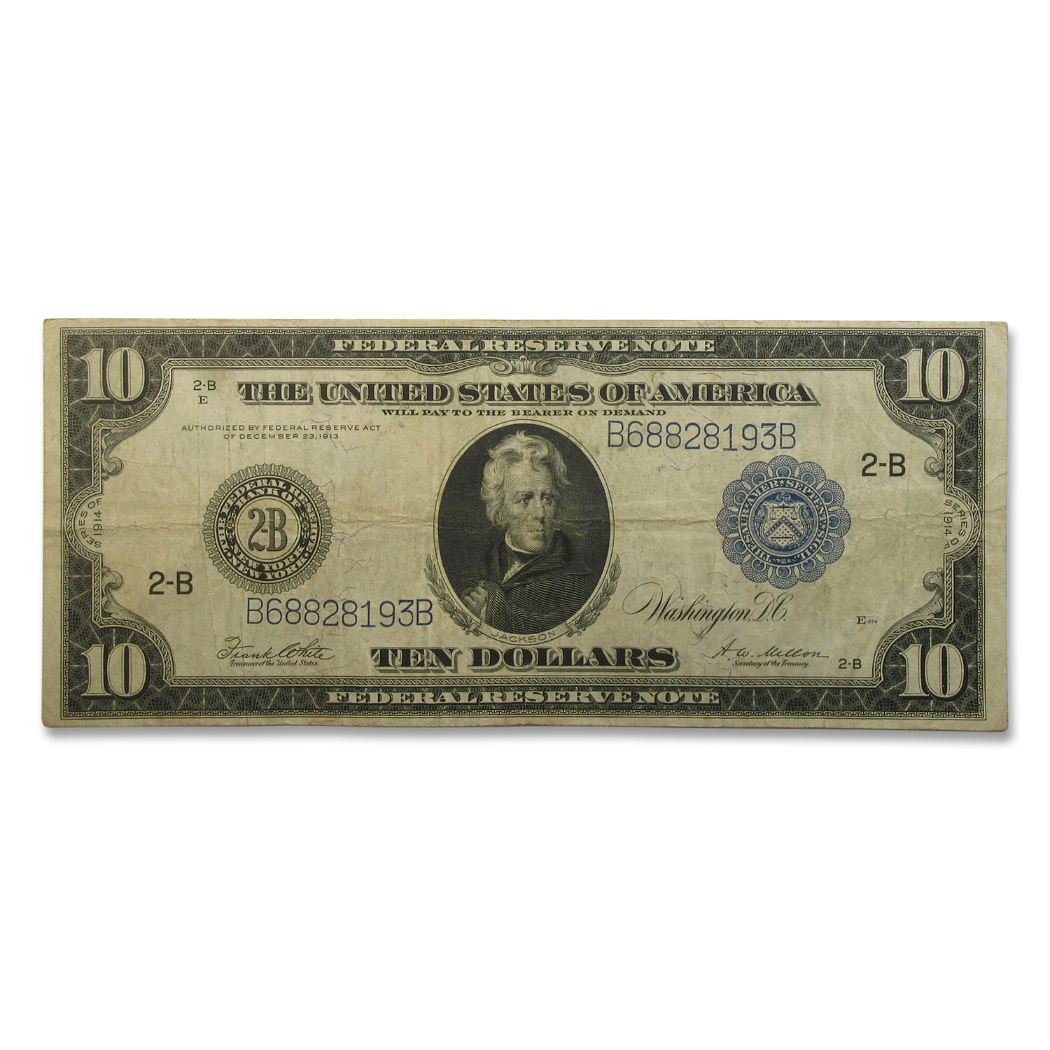 1914 (B-New York) $10 FRN Fine+