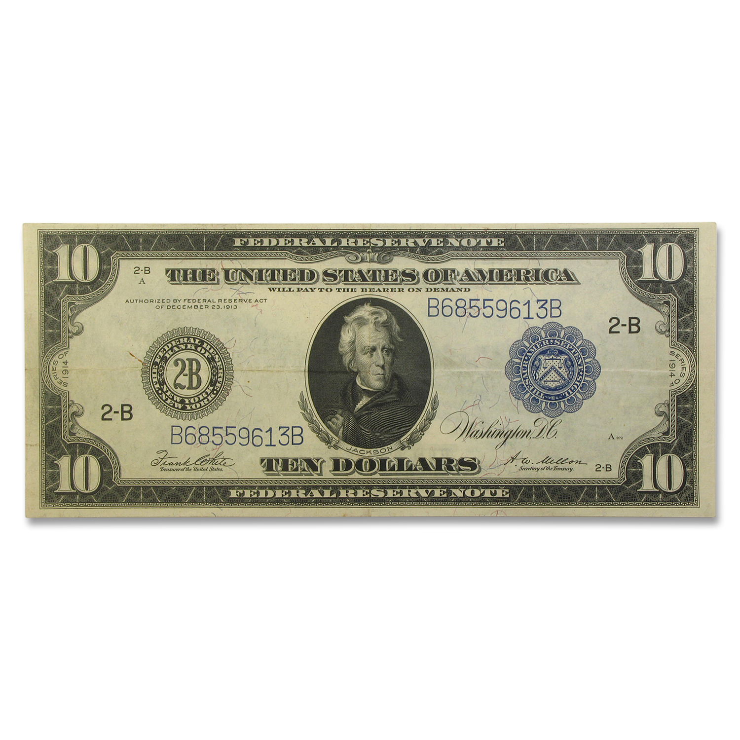 1914 (B-New York) $10 FRN VF