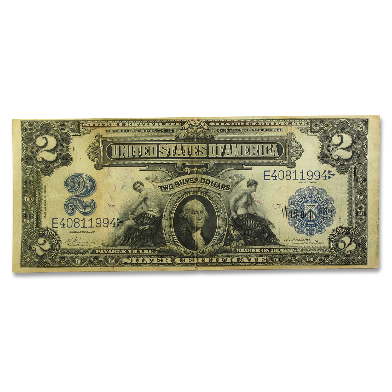 1899 $2.00 Silver Certificate George Washington VF