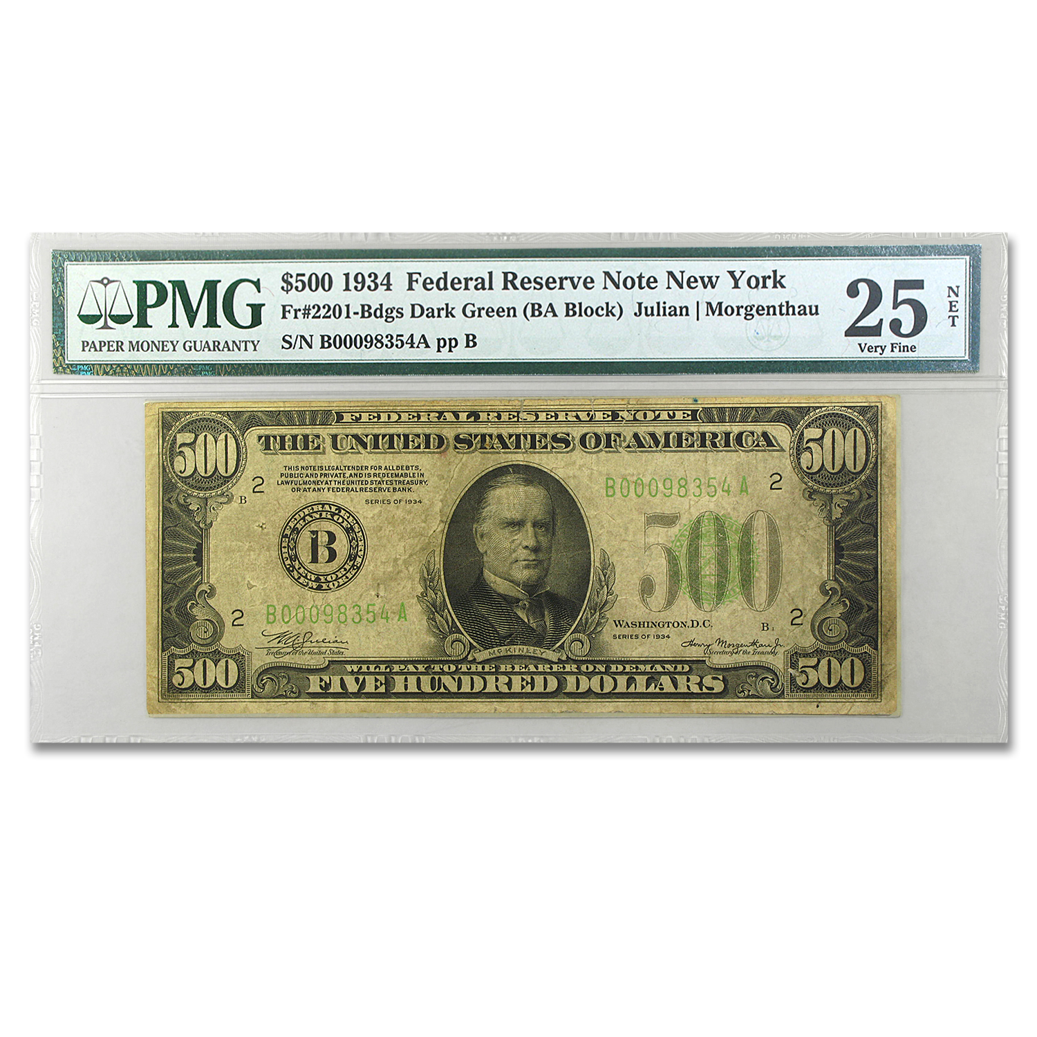 1934 (B-New York) $500 FRN VF-25 Net PMG