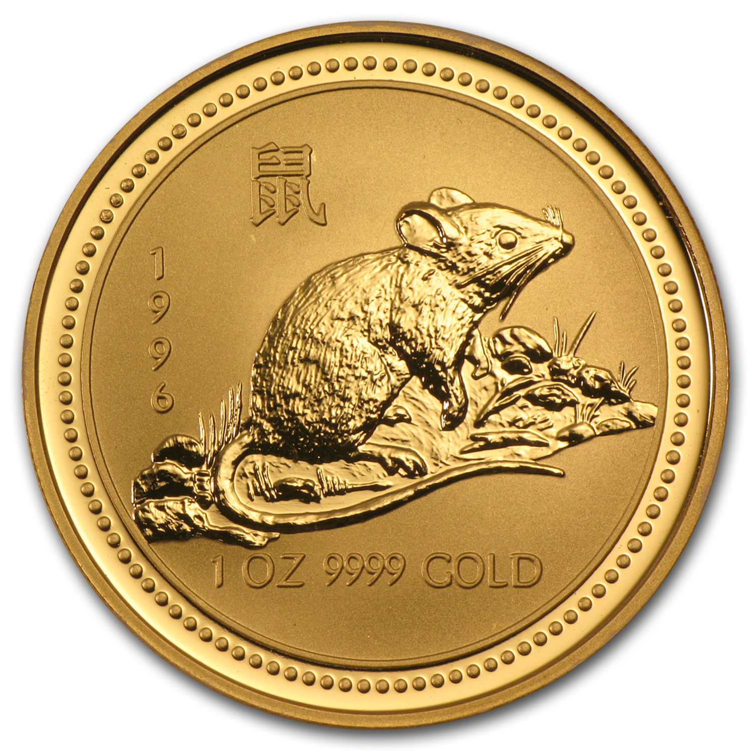 1996 Australia 1 oz Gold Lunar Rat (Series I)