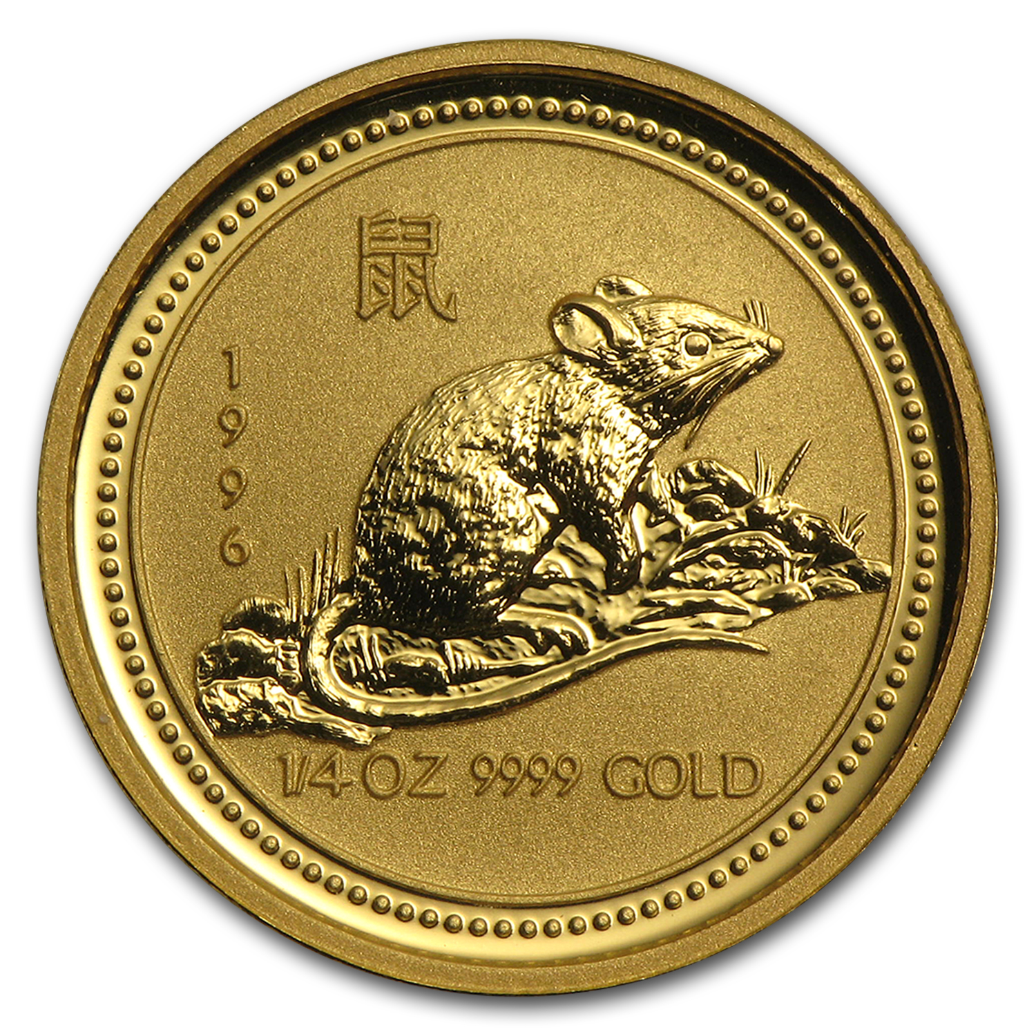 1996 Australia 1/4 oz Gold Lunar Rat (Series I)