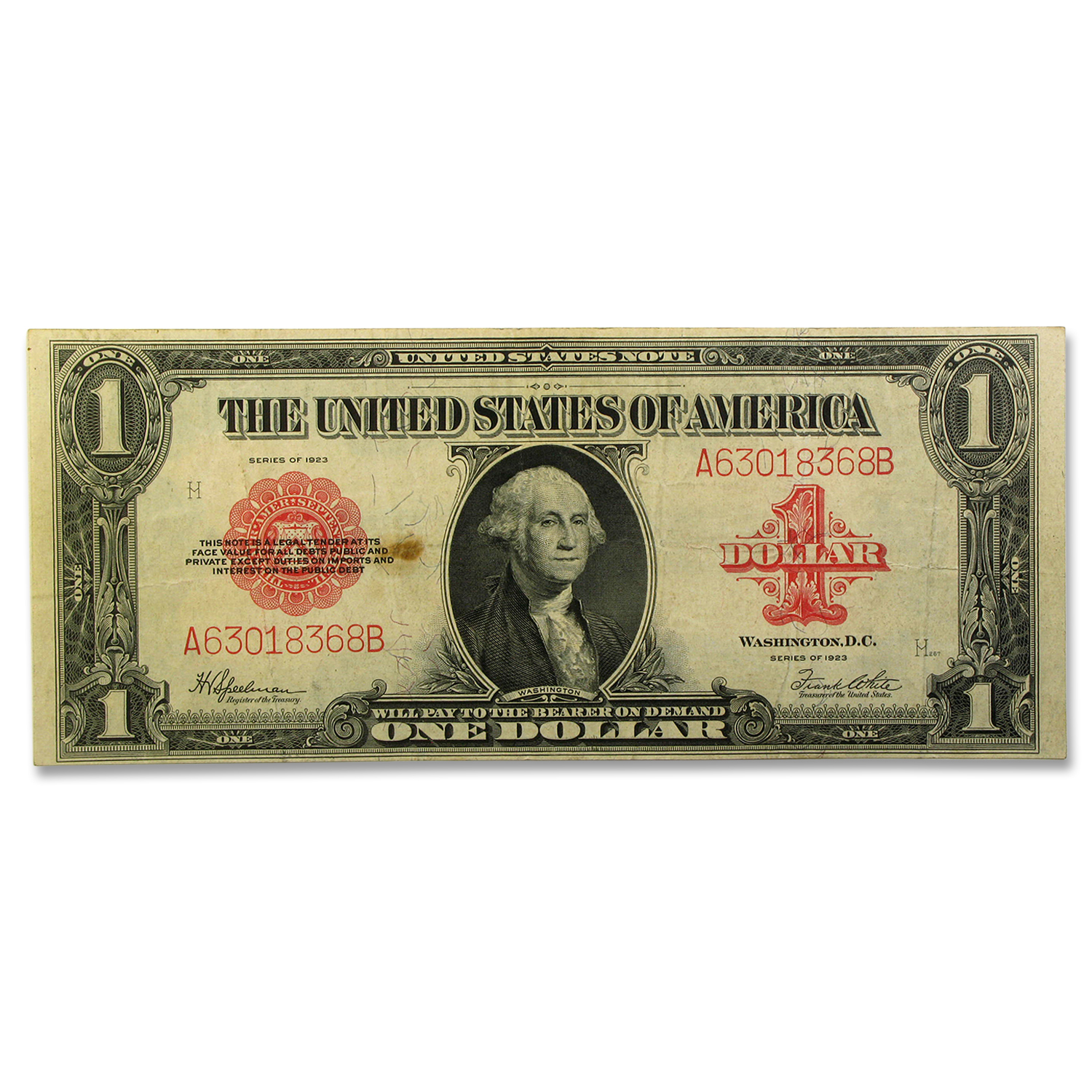 1923 $1.00 Legal Tender Red Seal F/VF