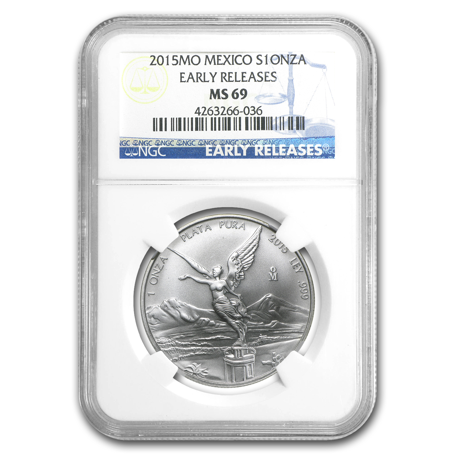 2015 Mexico 1 oz Silver Libertad MS-69 NGC (Early Releases)