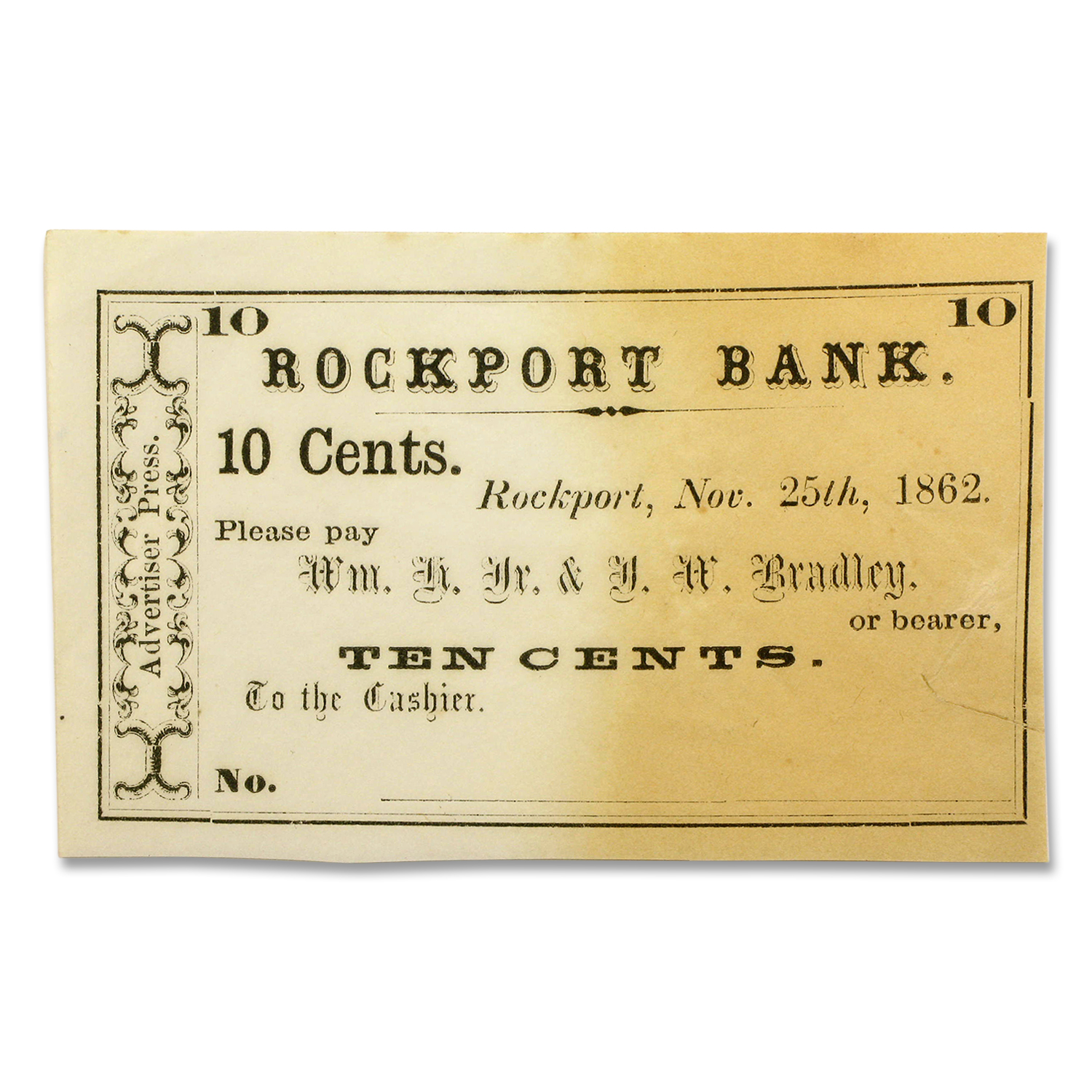 1862 10 Cents Rockport Bank of Rockport, MA AU