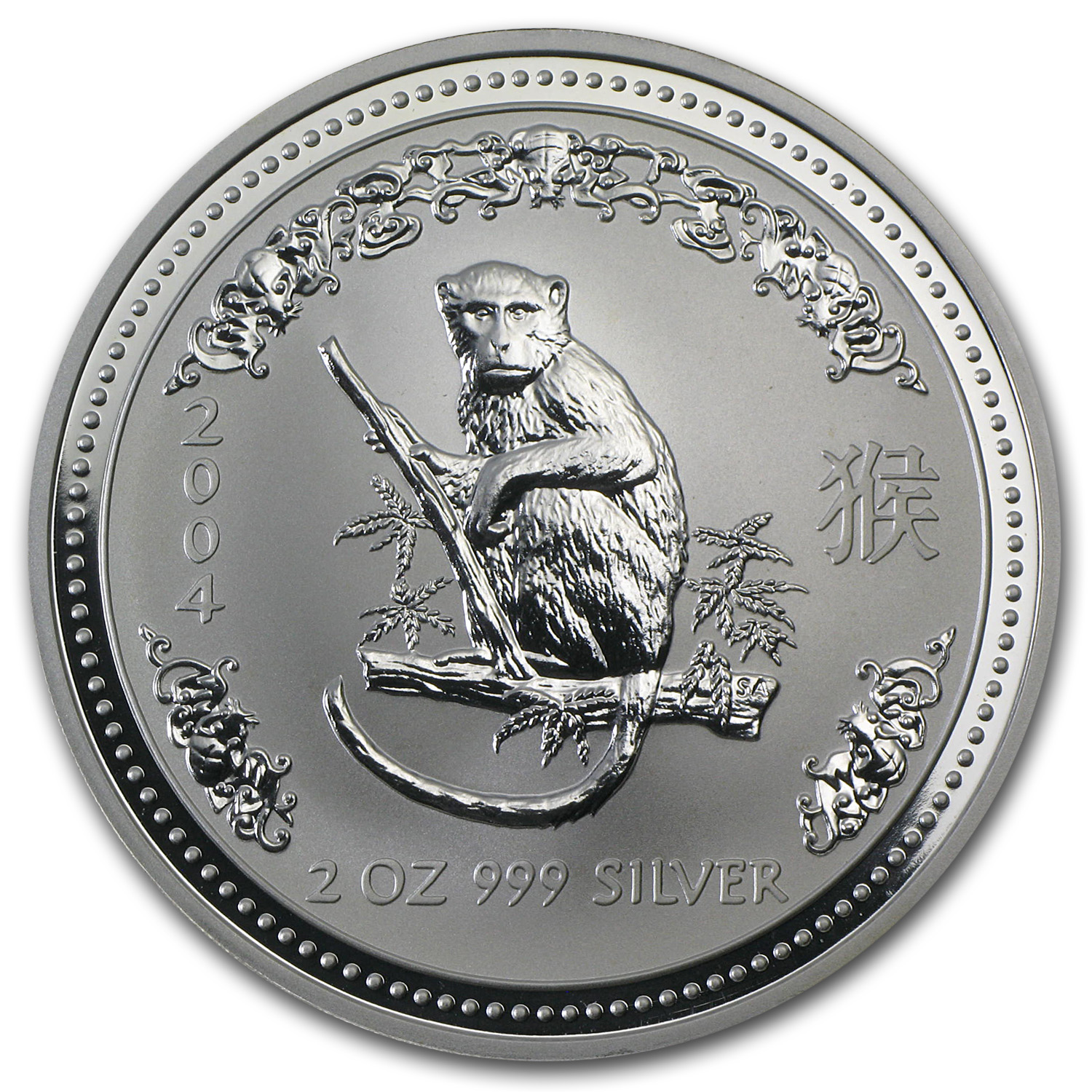 2004 Australia 2 oz Silver Year of the Monkey BU