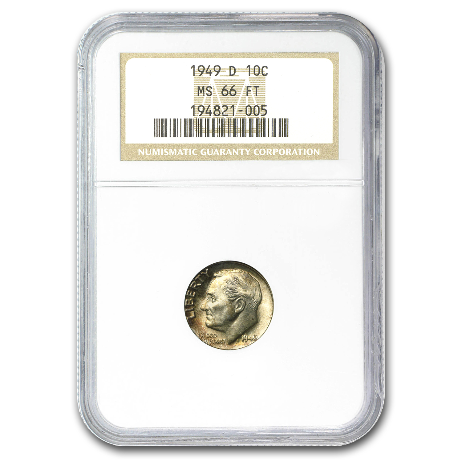 1949-D Roosevelt Dime MS-66 NGC (Full Torch)