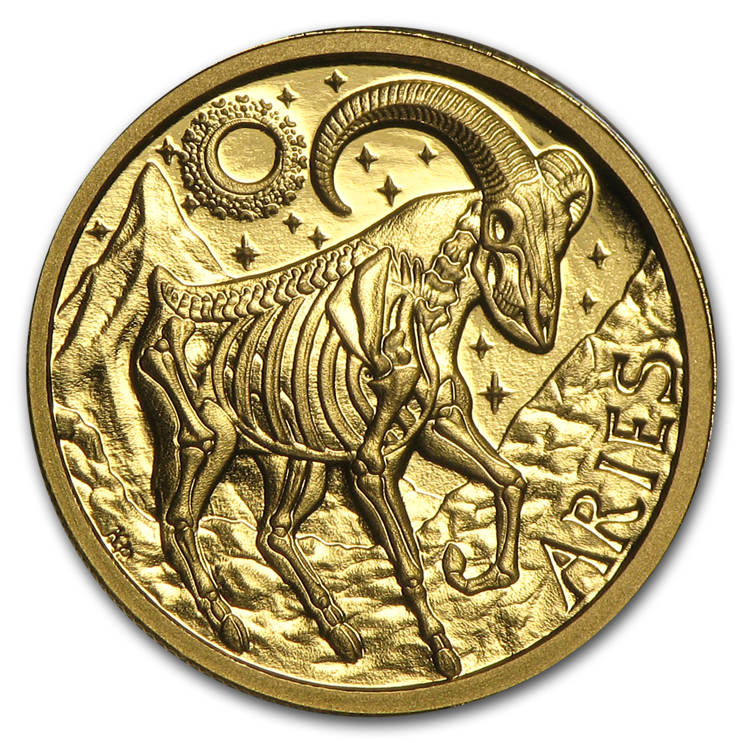 1/10 oz Gold Round Zodiac Series Aries Proof