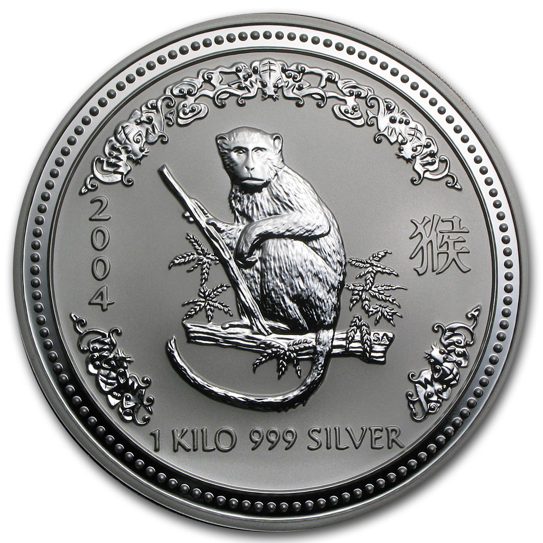 Kilo Silvers: 2004 Australia 1 Kilo Silver Year Of The Monkey BU