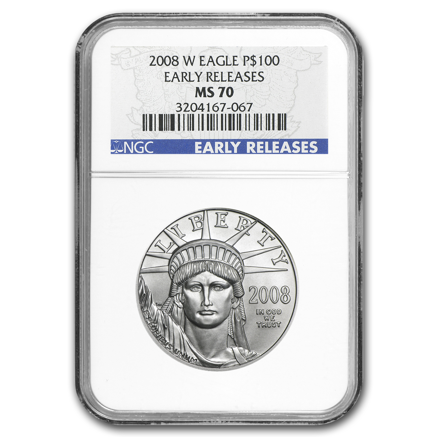 2008-W 1 oz Burnished Platinum American Eagle MS-70 NGC (ER)