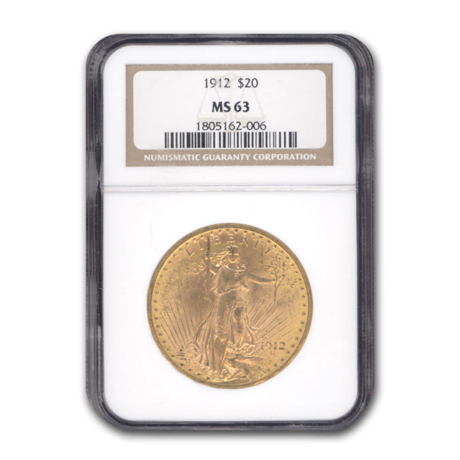 1912 $20 St. Gaudens Gold Double Eagle MS-63 NGC