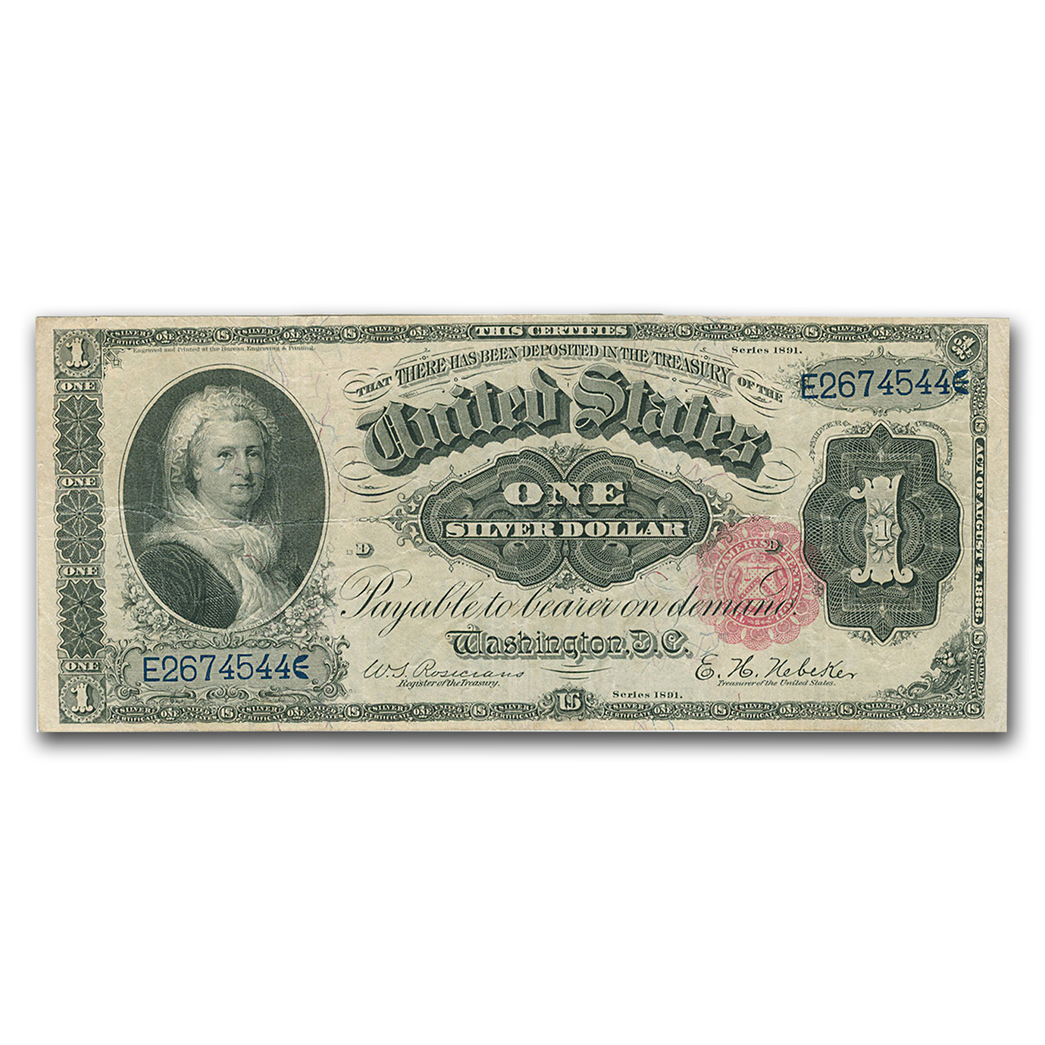 1891 $1.00 Silver Certificate Martha Washington VF