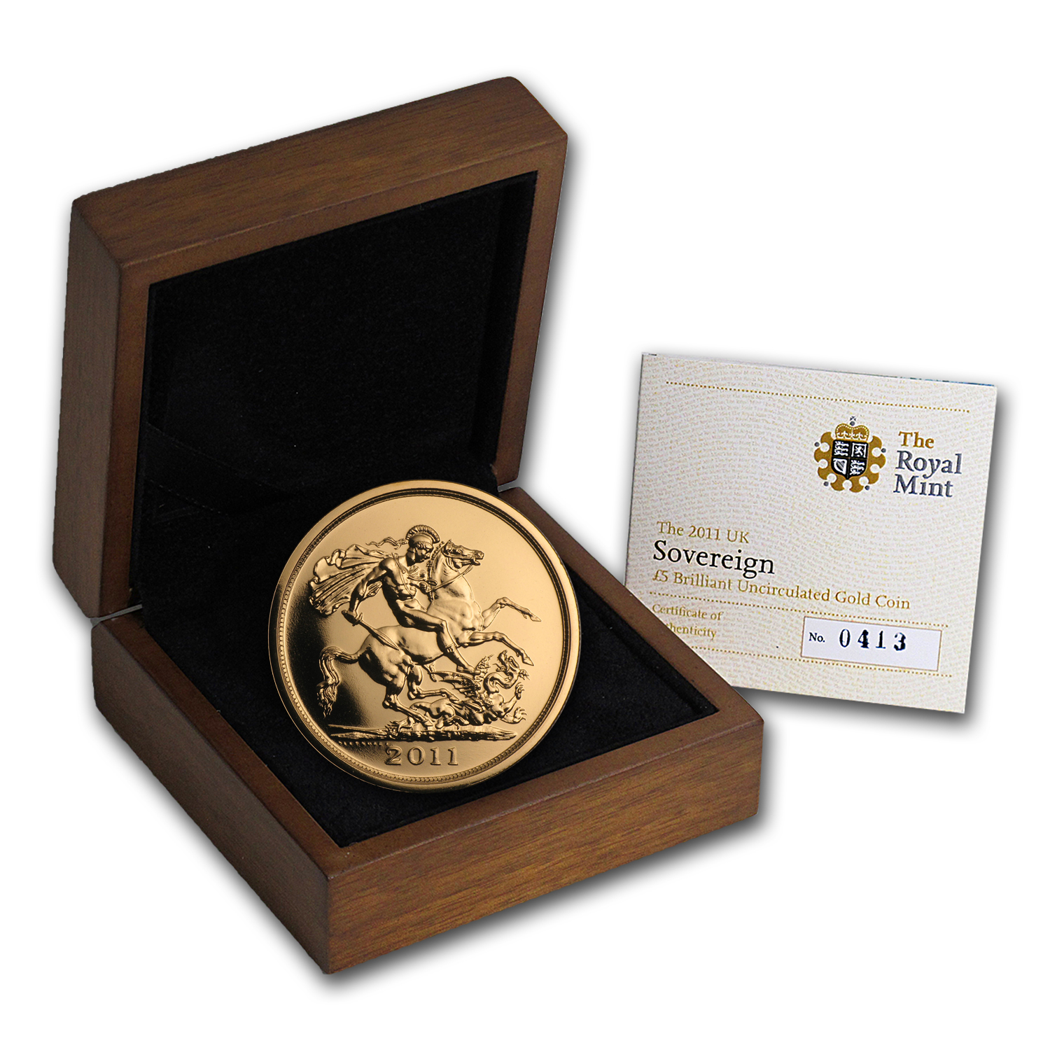 2011 Great Britain Gold £5 Sovereign BU (w/Box & COA)