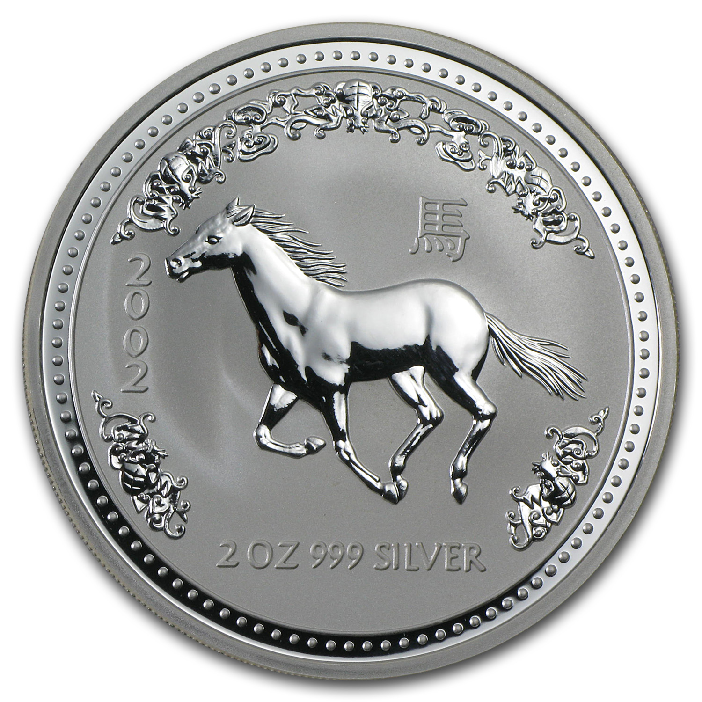 2002 Australia 2 Oz Silver Year Of The Horse Bu Perth