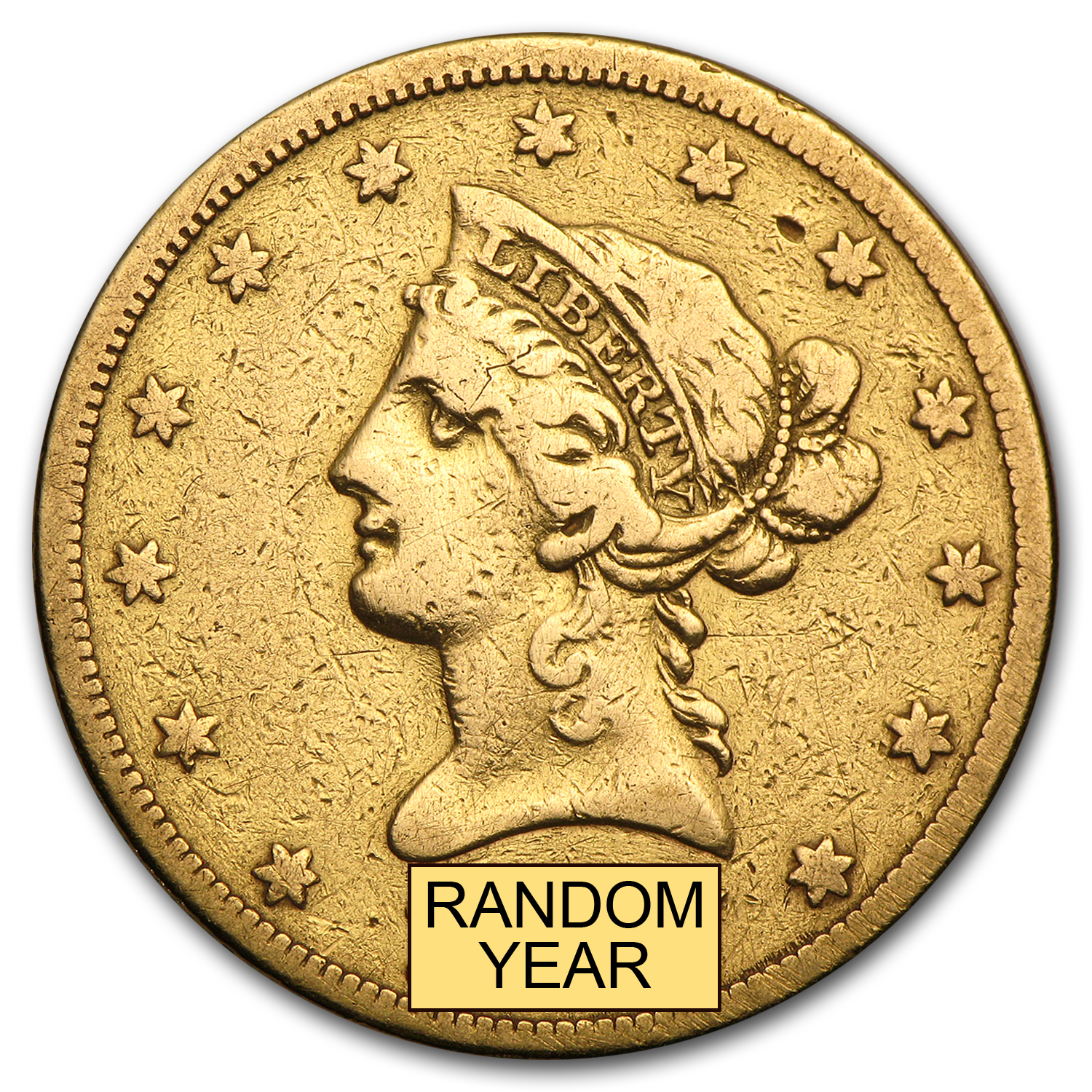 $10 Liberty Gold Eagle No Motto Type (Cleaned)