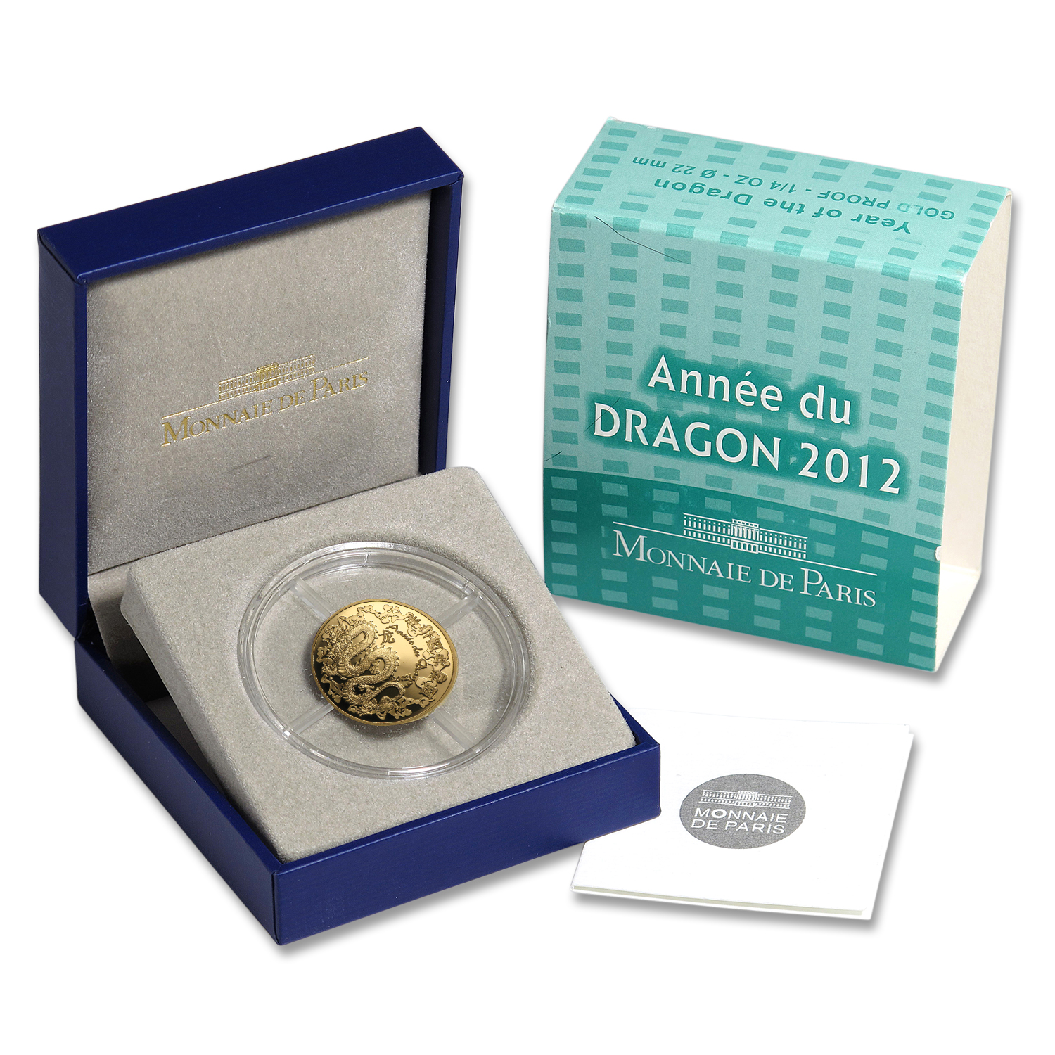 2012 1/4 oz Proof Gold €50 Year of the Dragon Lunar Series
