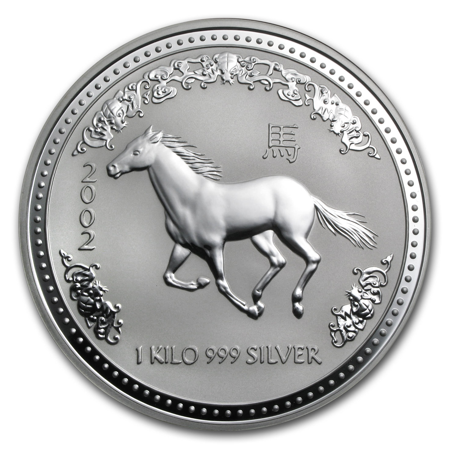 2002 Australia 1 kilo Silver Year of the Horse BU