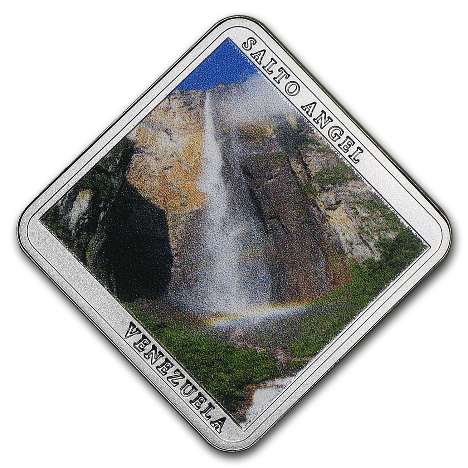 2015 Niue Silver Angel Falls Waterfall Square Coin Proof