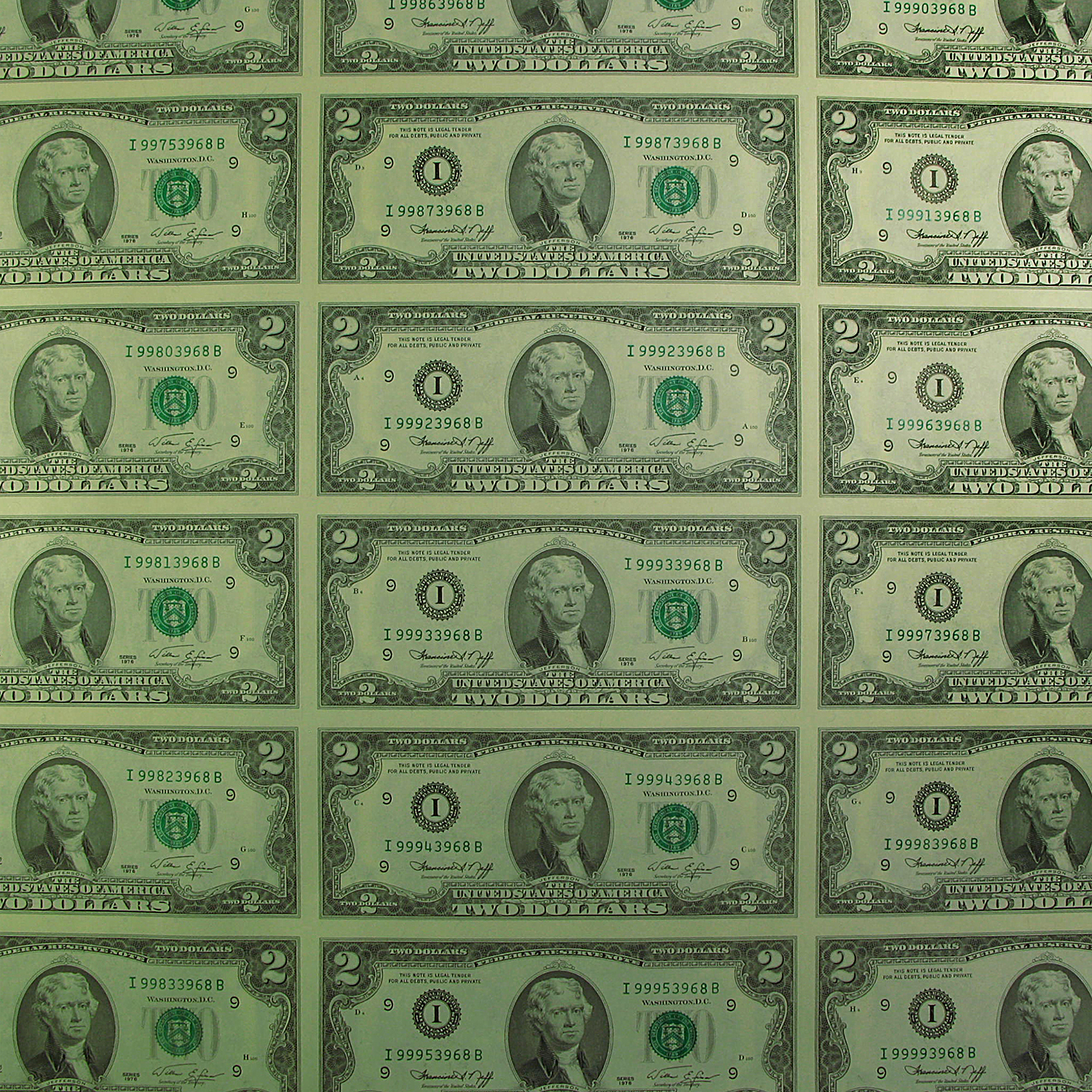 1976 (I-Minneapolis) $2.00 FRN CU (Uncut sheet of 32)