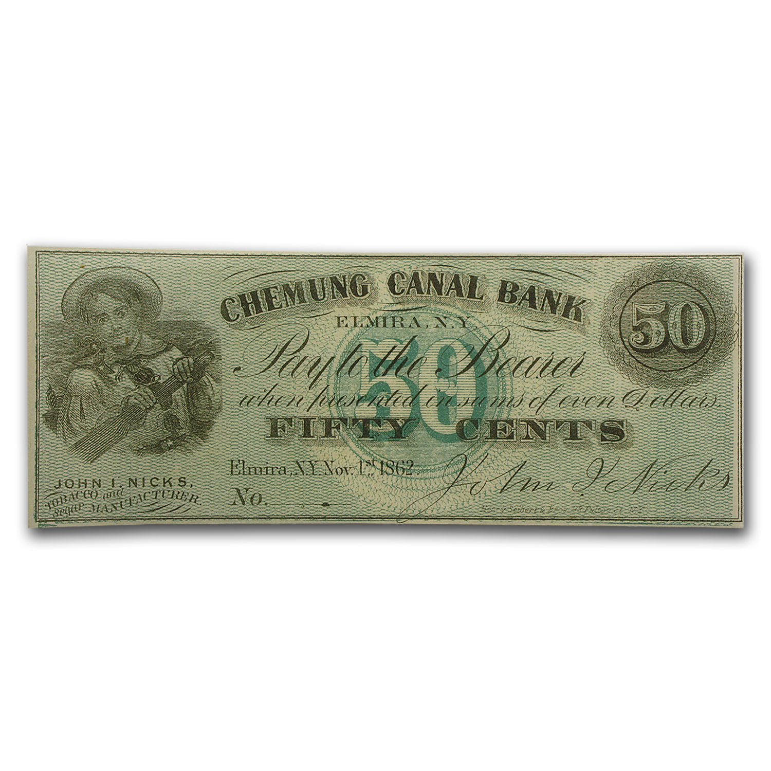 1862 Scrip of John Nicks, Elmira, NY 50 Cents CU