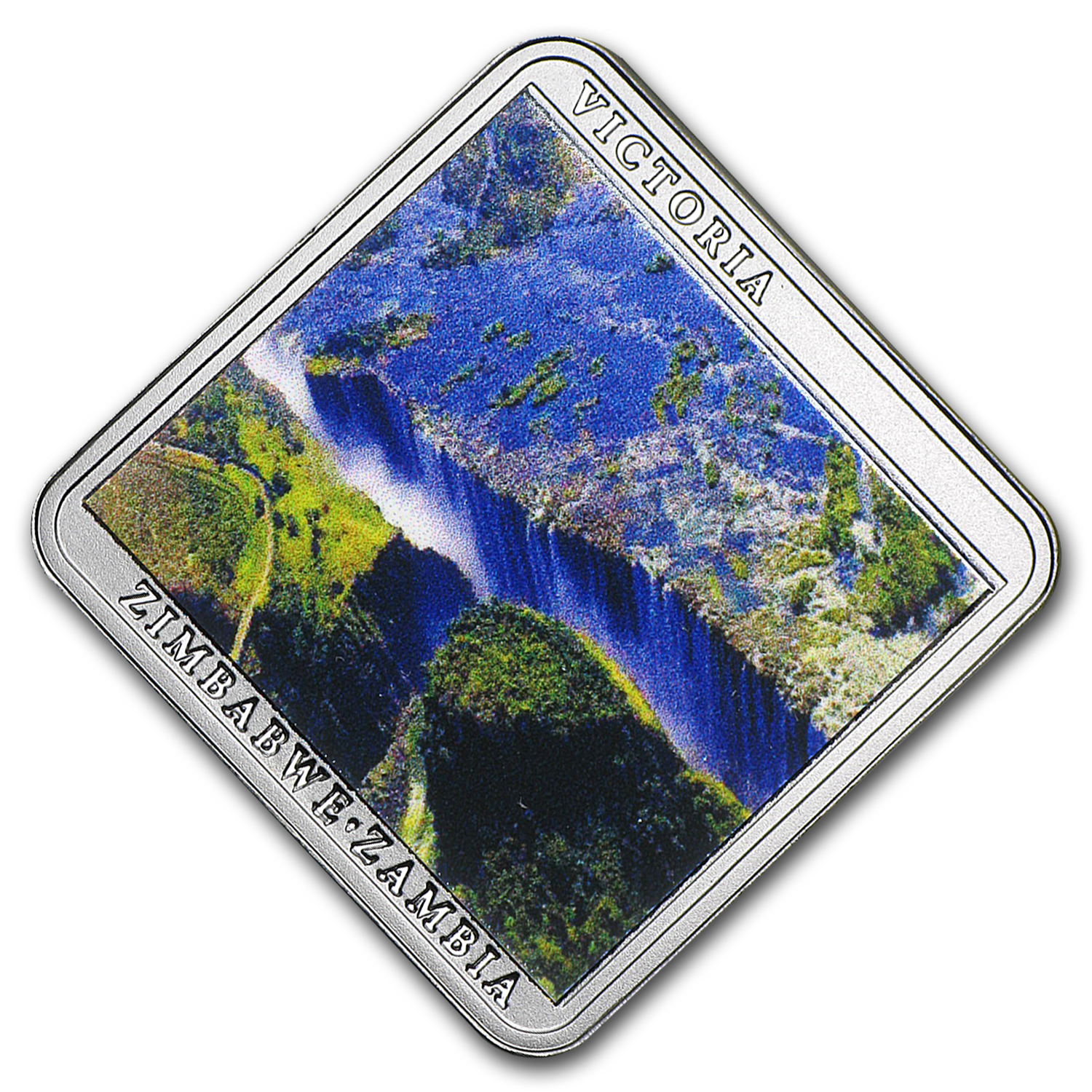 2015 Niue Silver Victoria Falls Waterfall Square Coin Proof