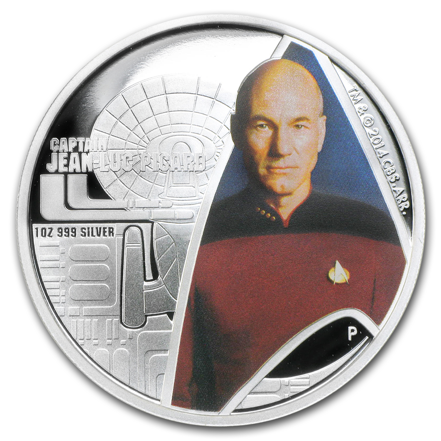 2015 Tuvalu 1 oz Silver Star Trek Colored Proof (Captain Picard)