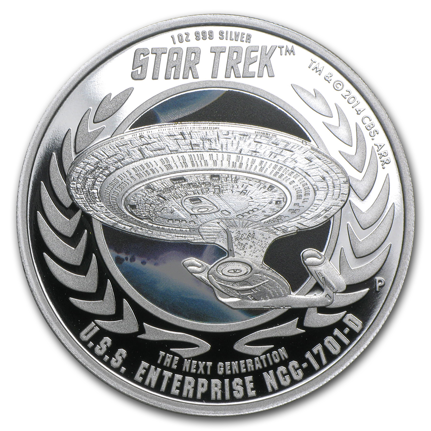 2015 Tuvalu 1 oz Silver Star Trek Colored Proof (Enterprise #2)
