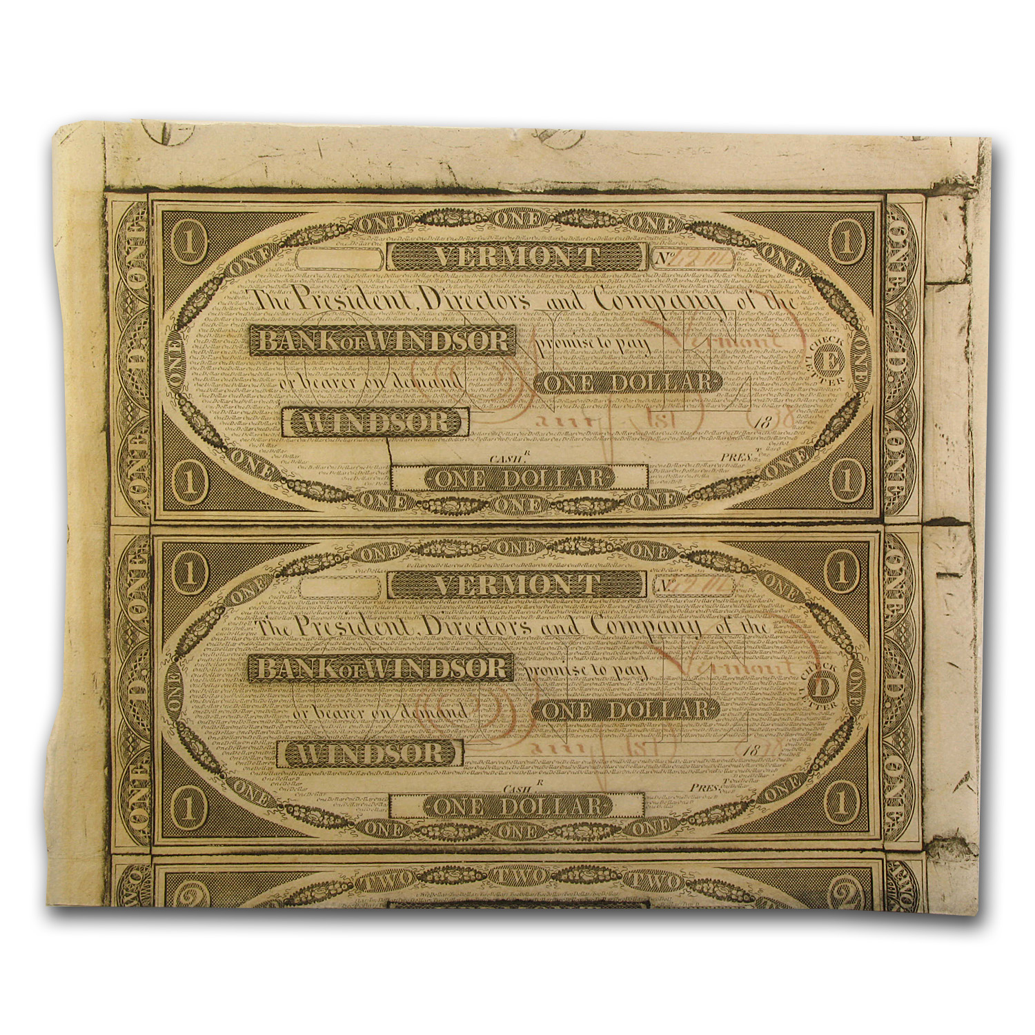 1838 Bank of Windsor, VT Pair of $1.00 Notes CU