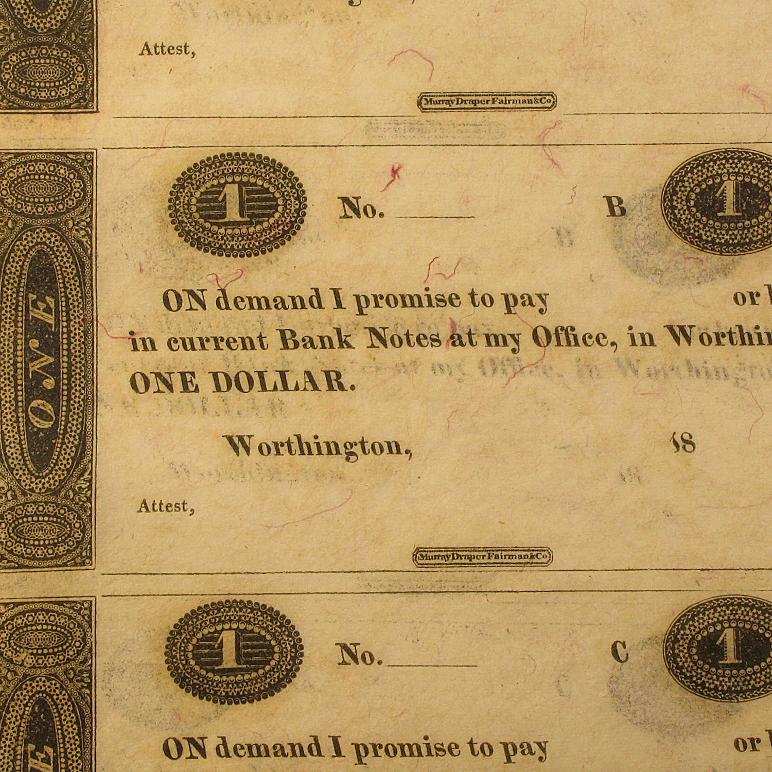 18__ UNCUT SHEET Worthington, OH $1.00 Remainder CU