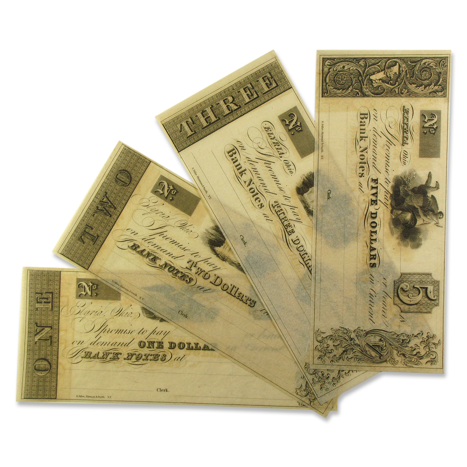 18__ Merchant Note Set Elyria, OH $1.00 thru $5.00 AU+