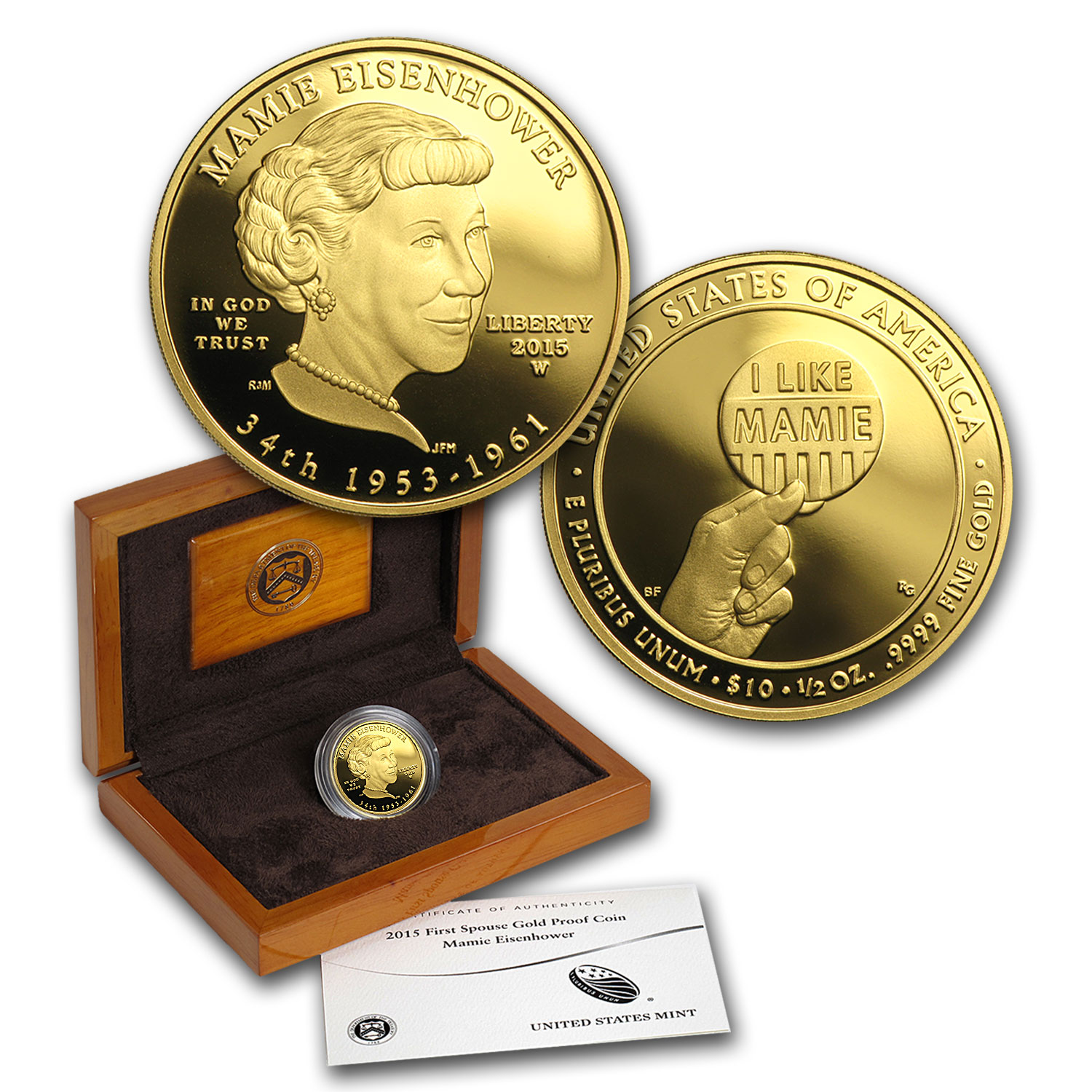 2015-W 1/2 oz Proof Gold Mamie Eisenhower (w/Box & COA)