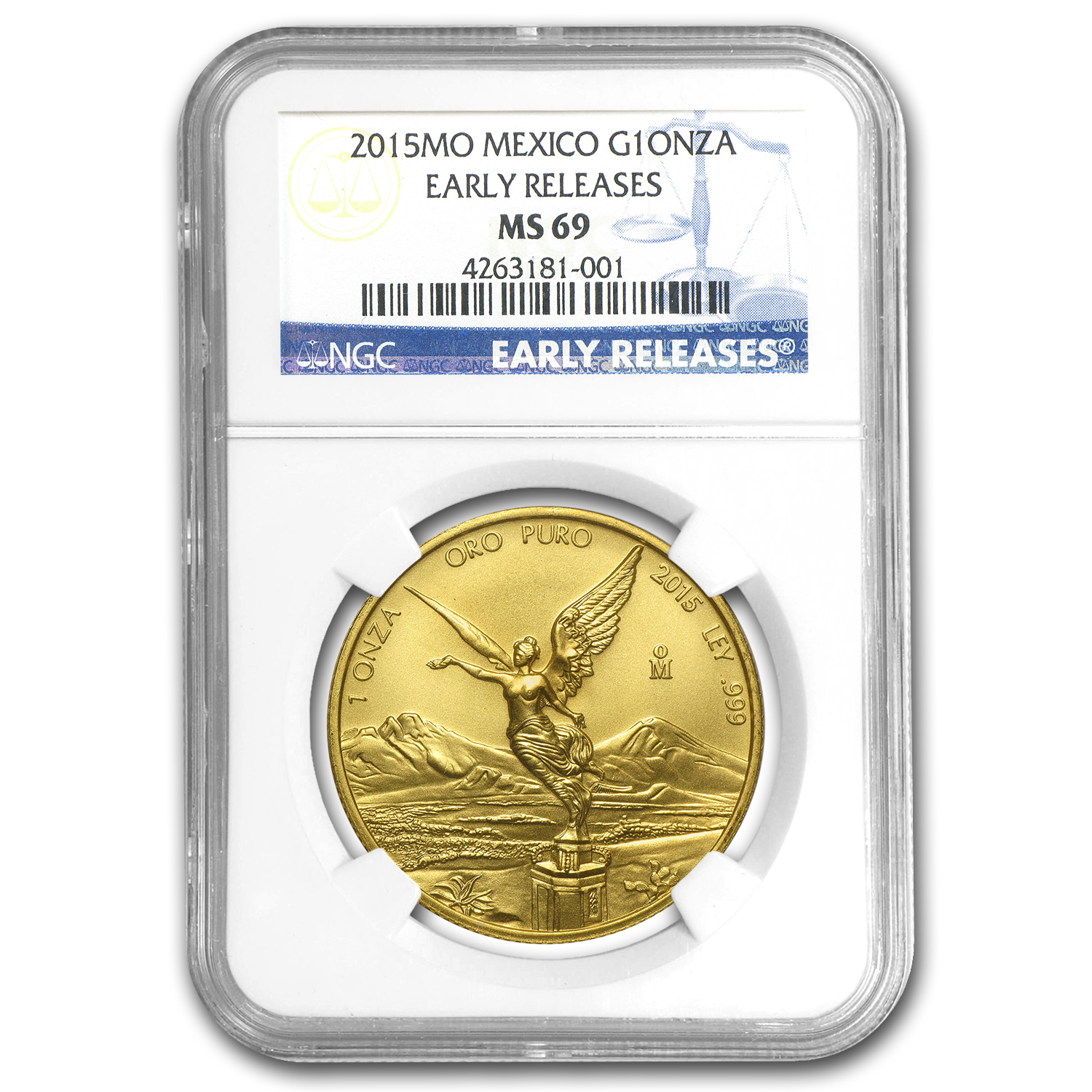 2015 Mexico 1 oz Gold Libertad MS-69 NGC (Early Release)