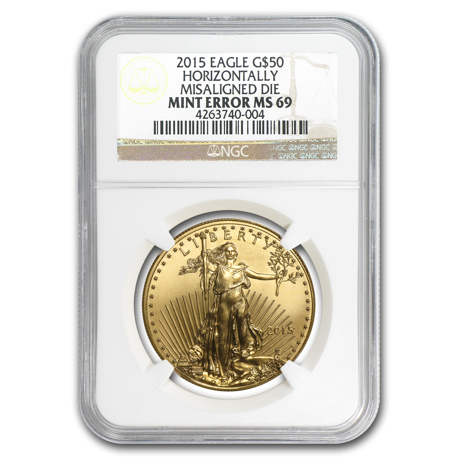 2015 1 oz Gold Eagle Major Mint Error MS-69 NGC (MISALIGNED DIE)