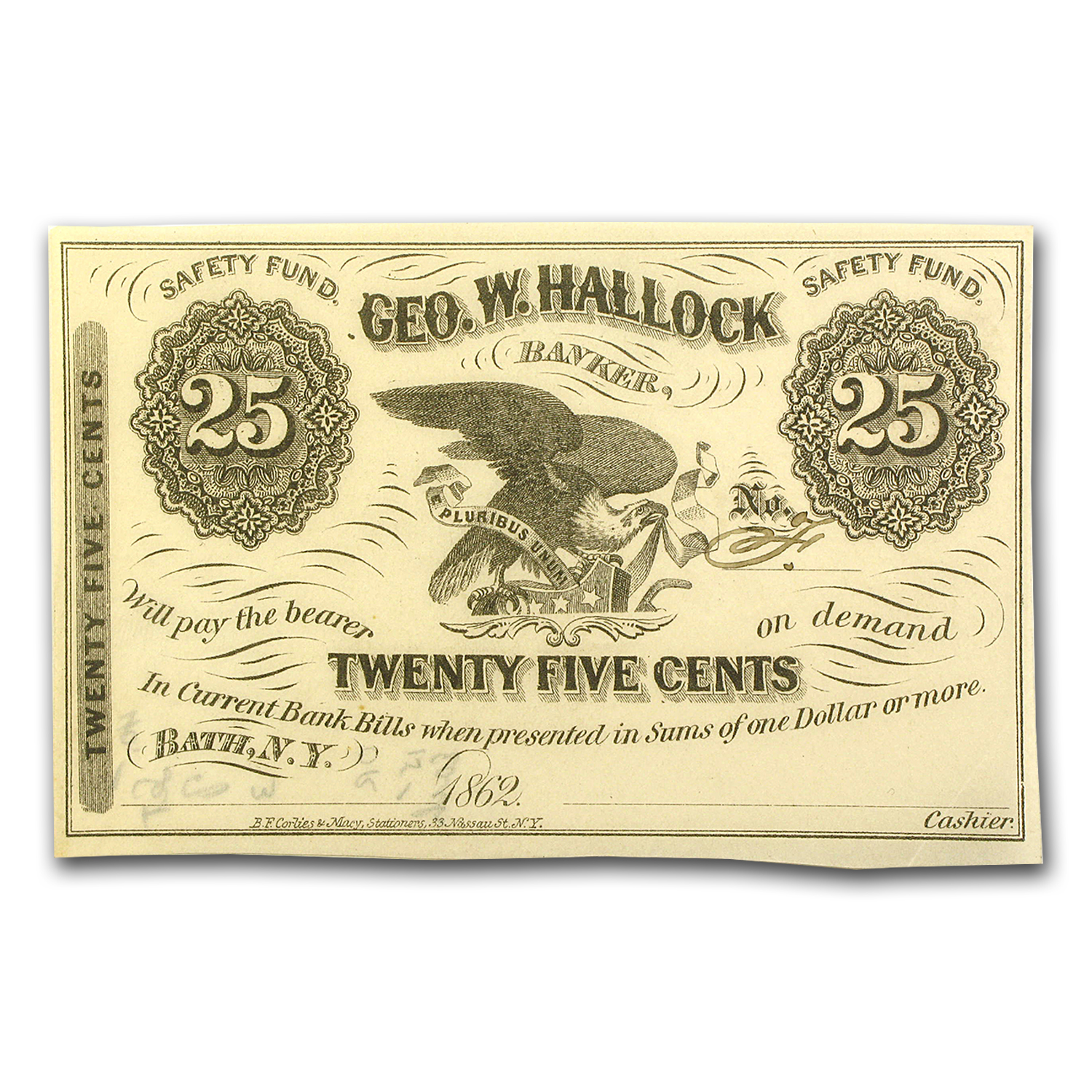 1862 Scrip of Geo. Hallock, Banker in Bath, NY 25 Cents AU