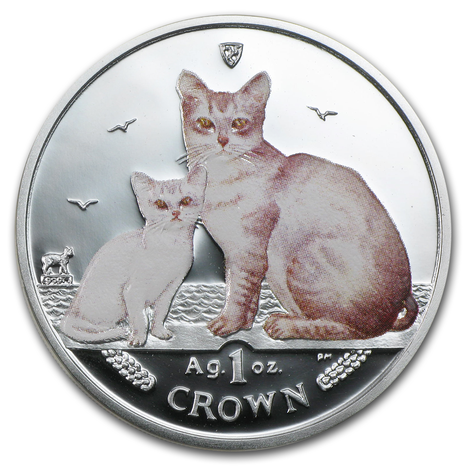 2008 Isle of Man 1 oz Silver Burmilla Cats Proof (Colorized)