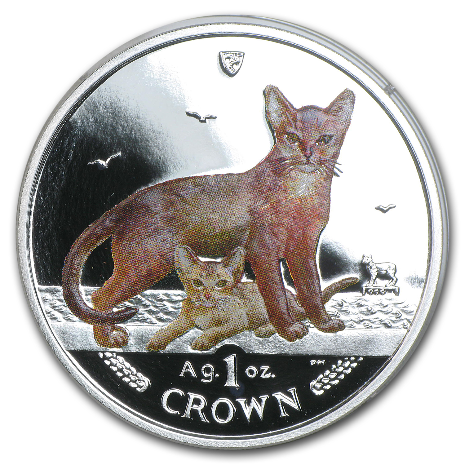 2010 Isle of Man Silver 1 Crown Abyssinian Cat Prf (Colorized)
