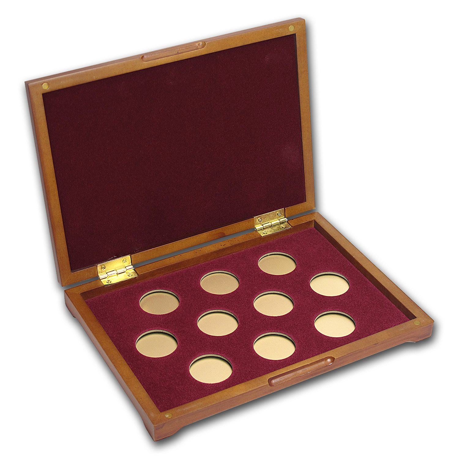 10 coin Wood Presentation Box (Small Gold Coins)