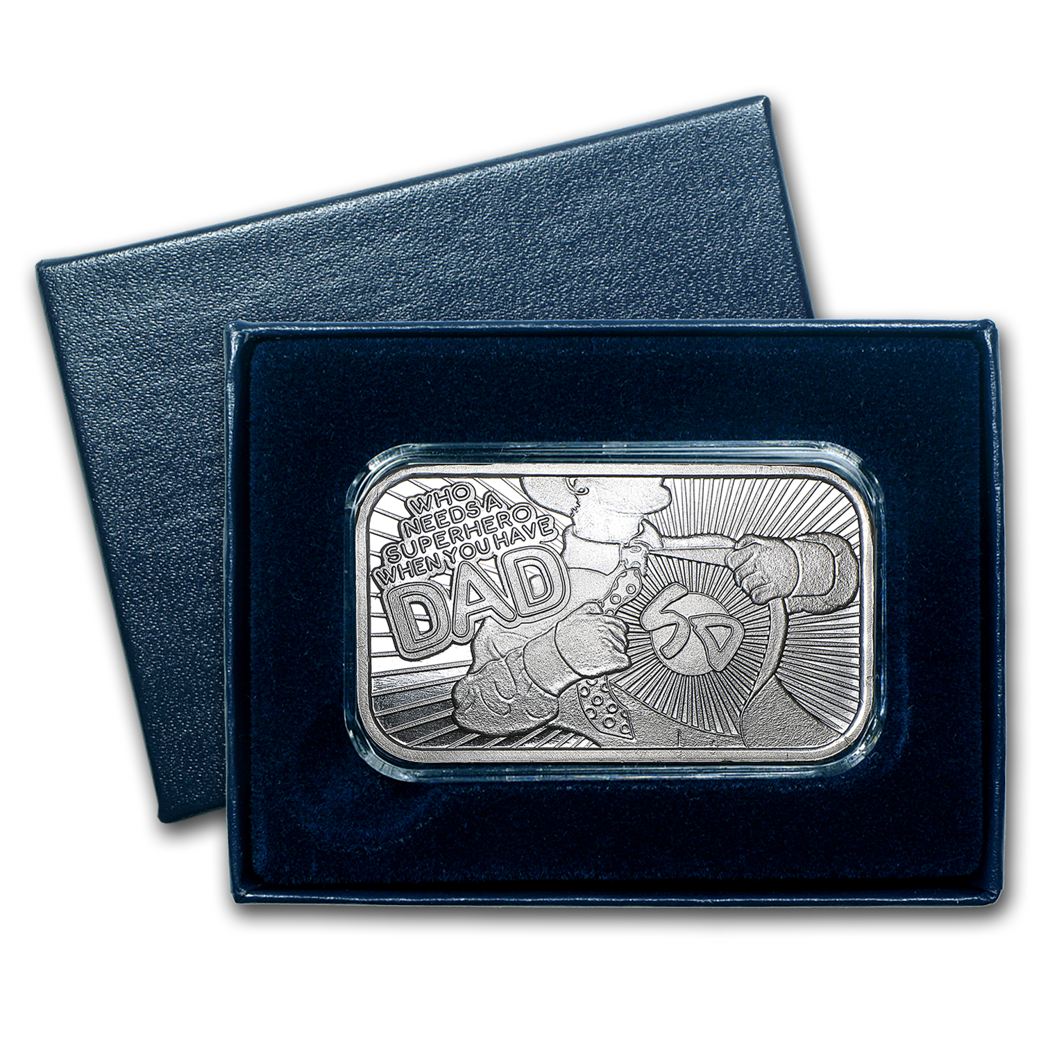 1 oz Silver Bar - Superhero Dad (Box & Cap )