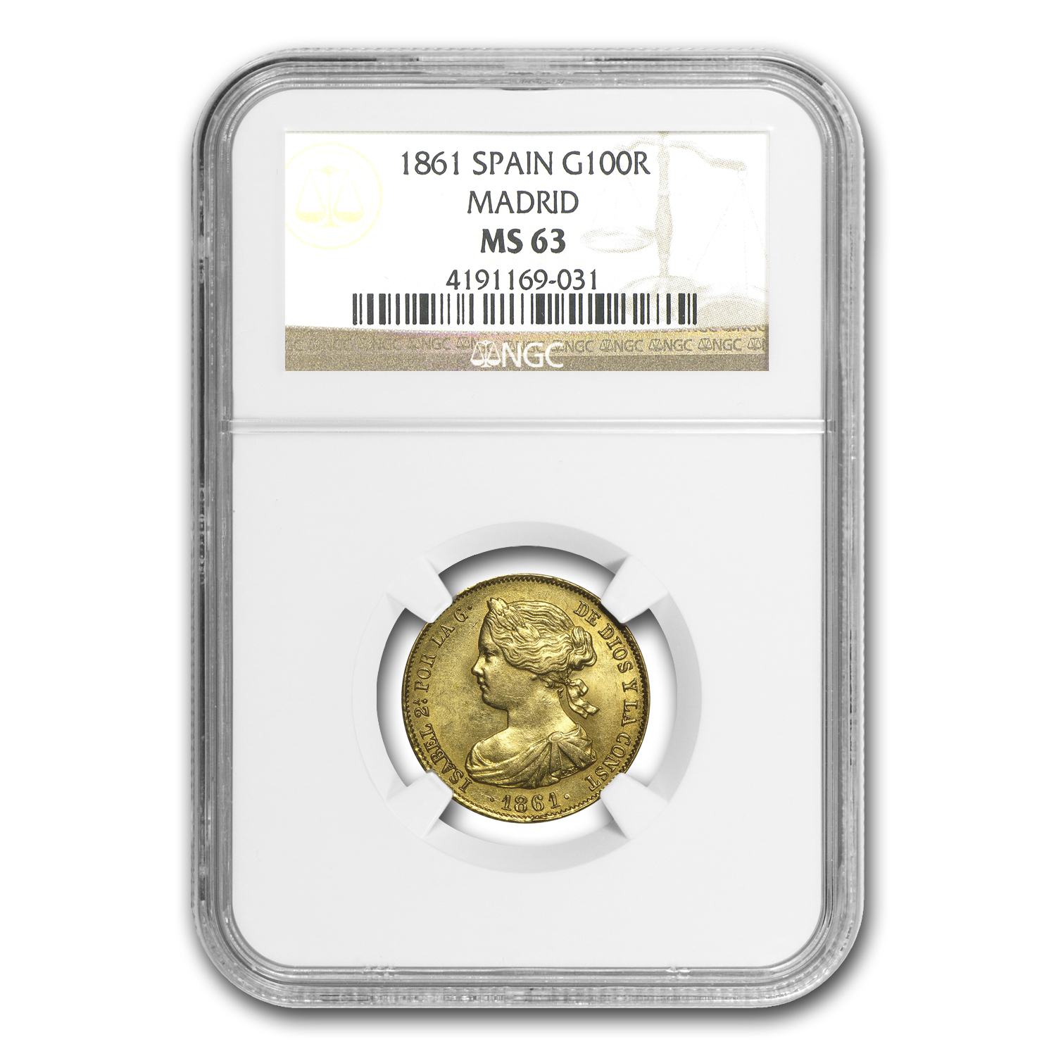 1861 Spain Gold 100 Reales Isabel II MS-63 NGC