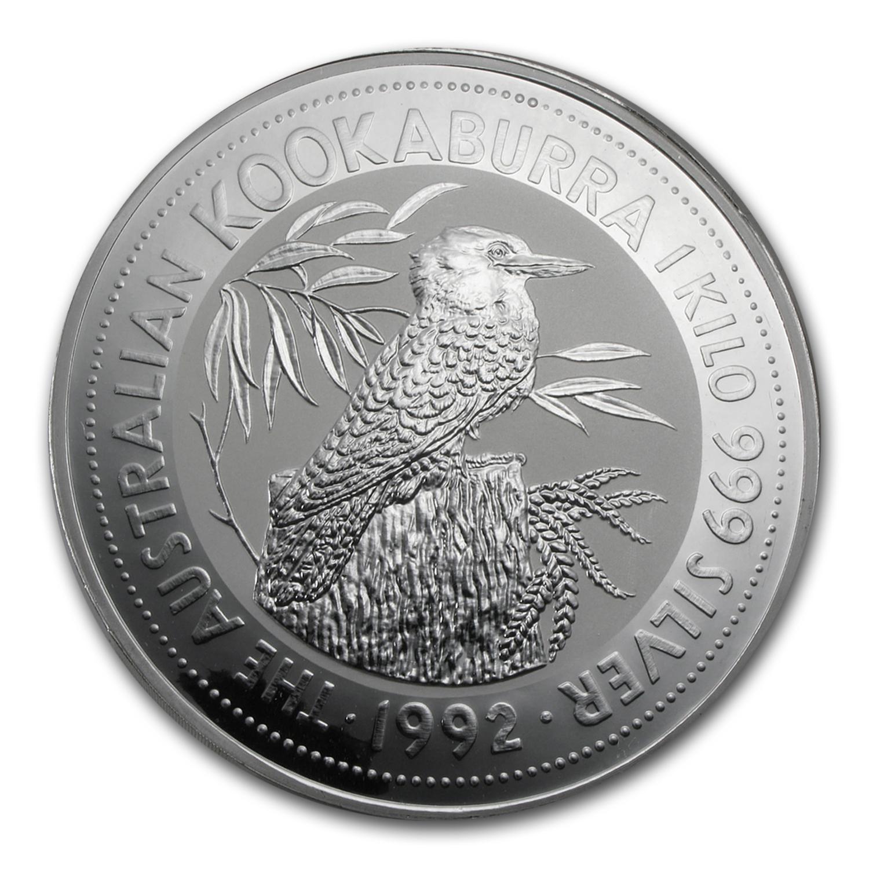 1992 Australia 1 Kilo Silver Kookaburra Bu Gold And Silver