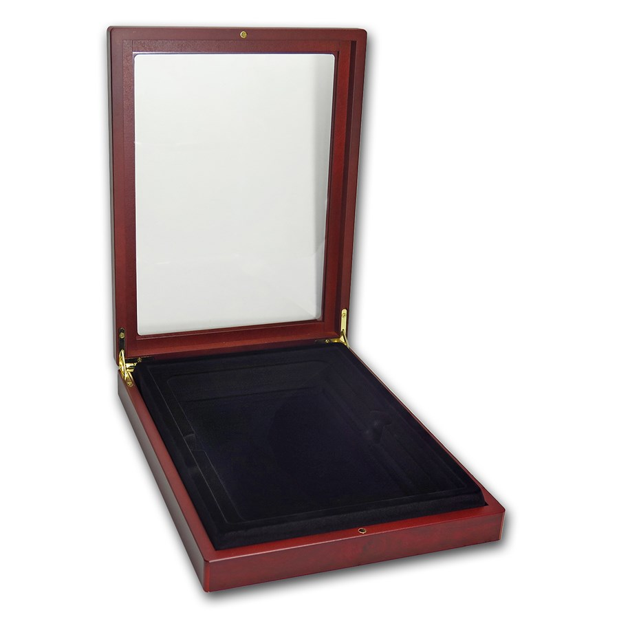 wooden box glass top presentation box large pcgs. Black Bedroom Furniture Sets. Home Design Ideas