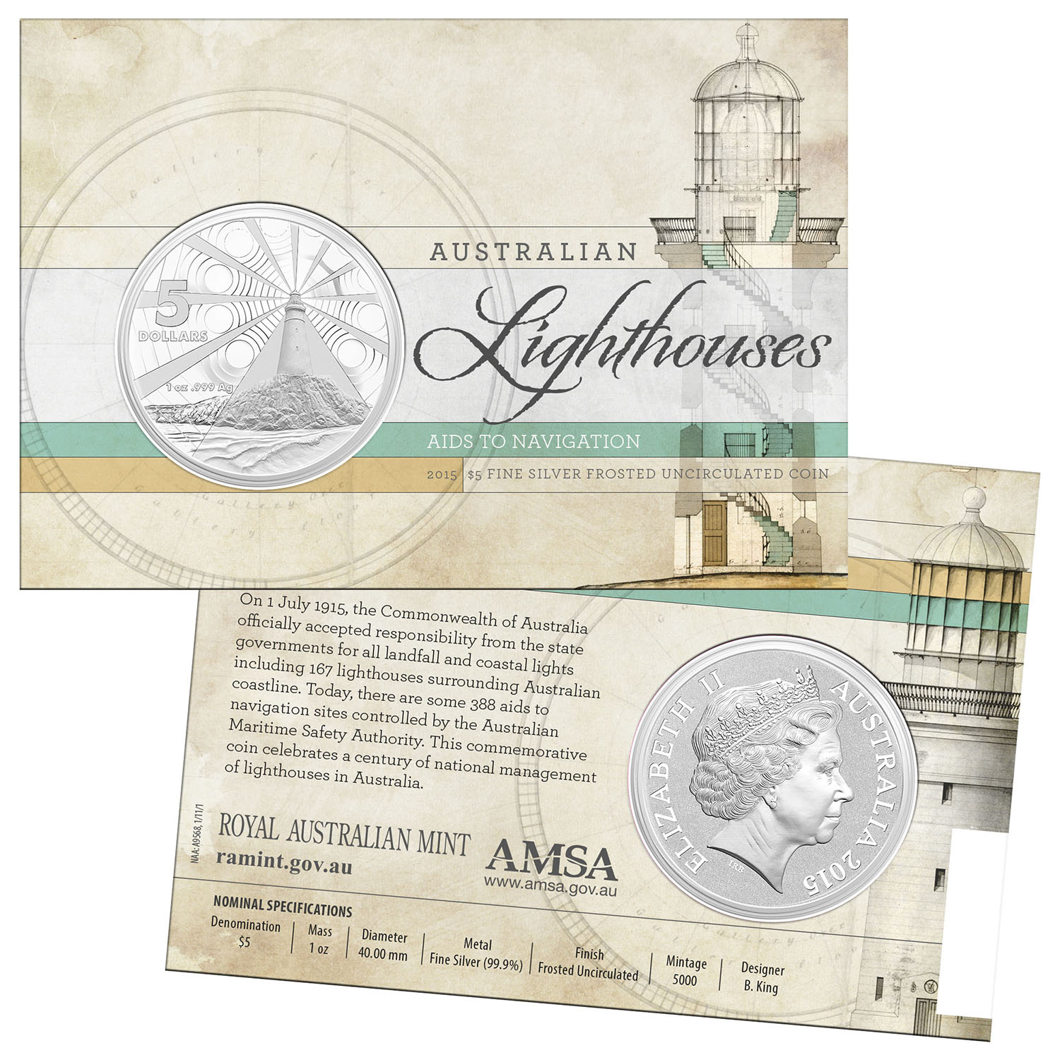 2015 Australia Silver $5 Australian Lighthouse