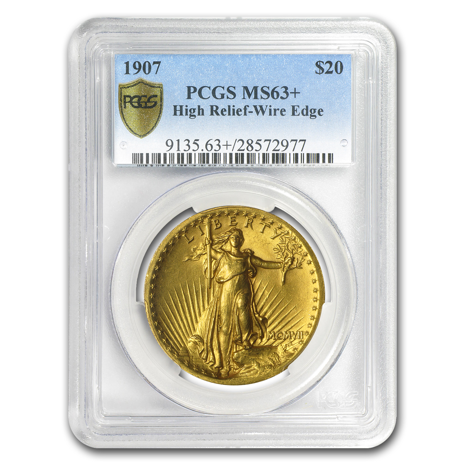 1907 $20 St. Gaudens Gold High Relief Wire Rim MS-63+ PCGS