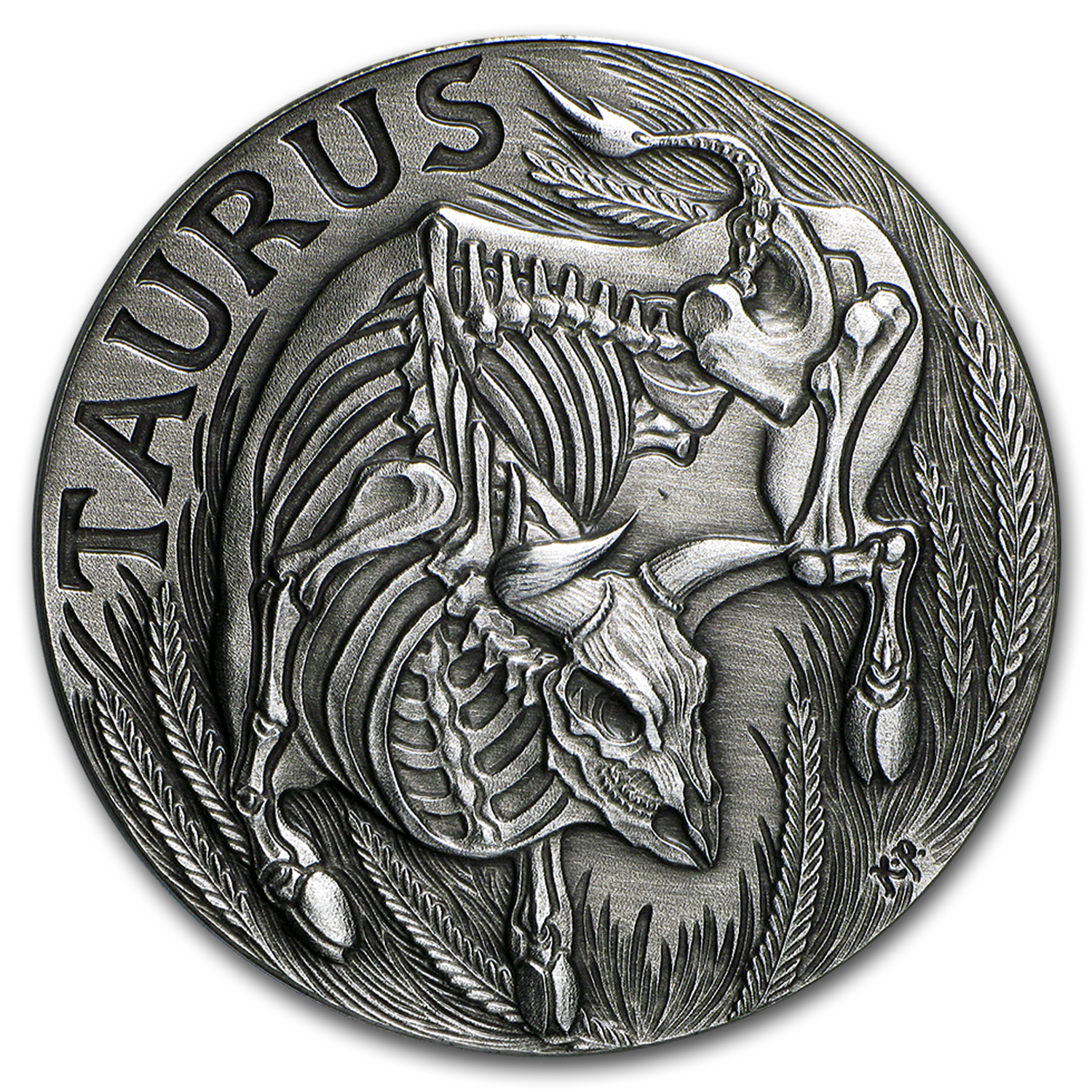 1 oz Silver Antique Round - Zodiac Skull Series (Taurus)