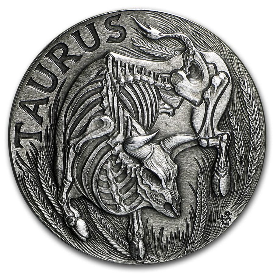 1 Oz Silver Round Taurus Zodiac Series Sm Mint
