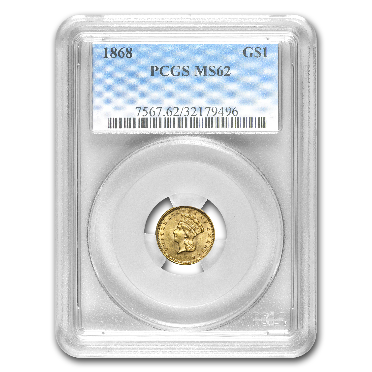 1868 $1 Indian Head Gold Type 3 MS-62 PCGS
