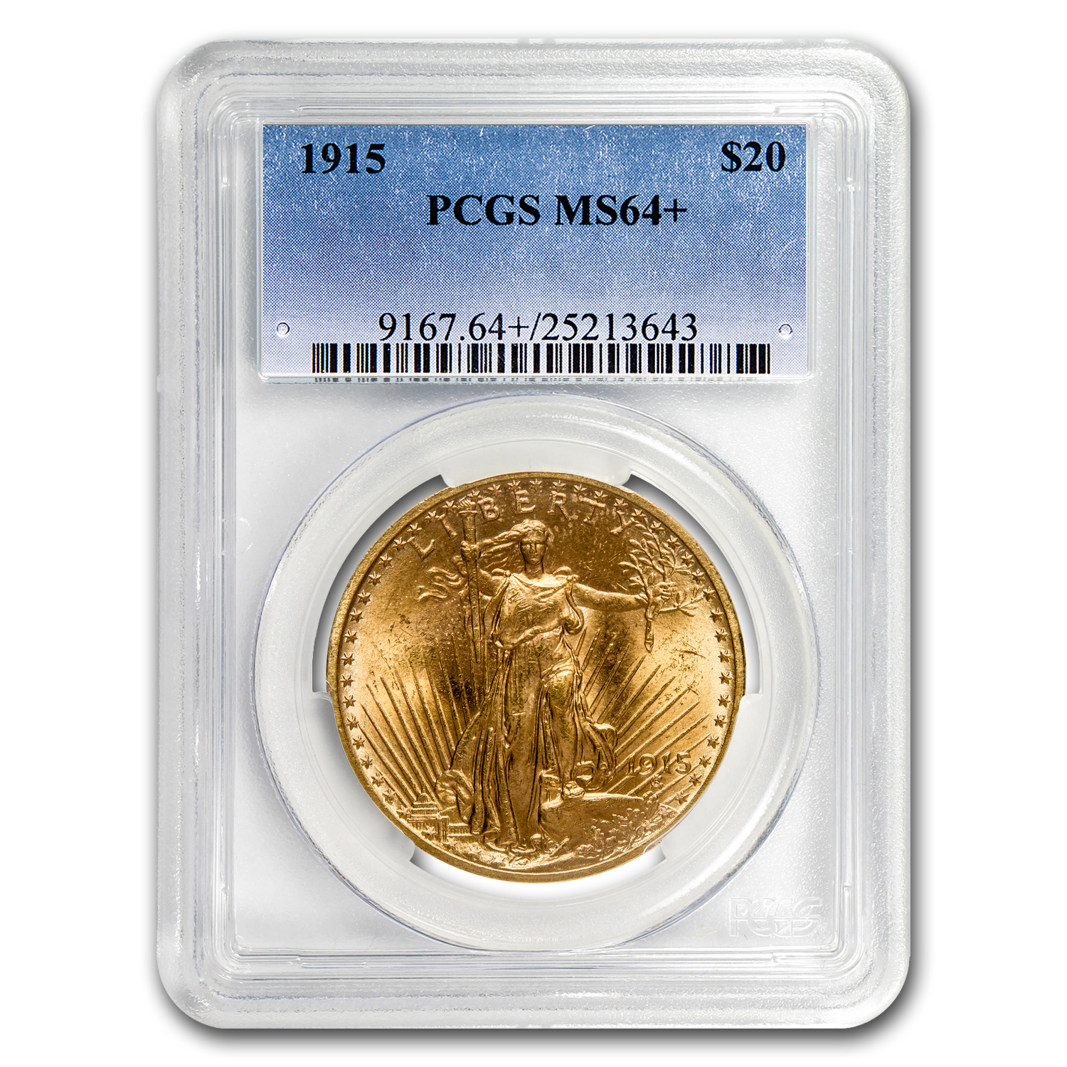 1915 $20 St. Gaudens Gold Double Eagle MS-64+ PCGS